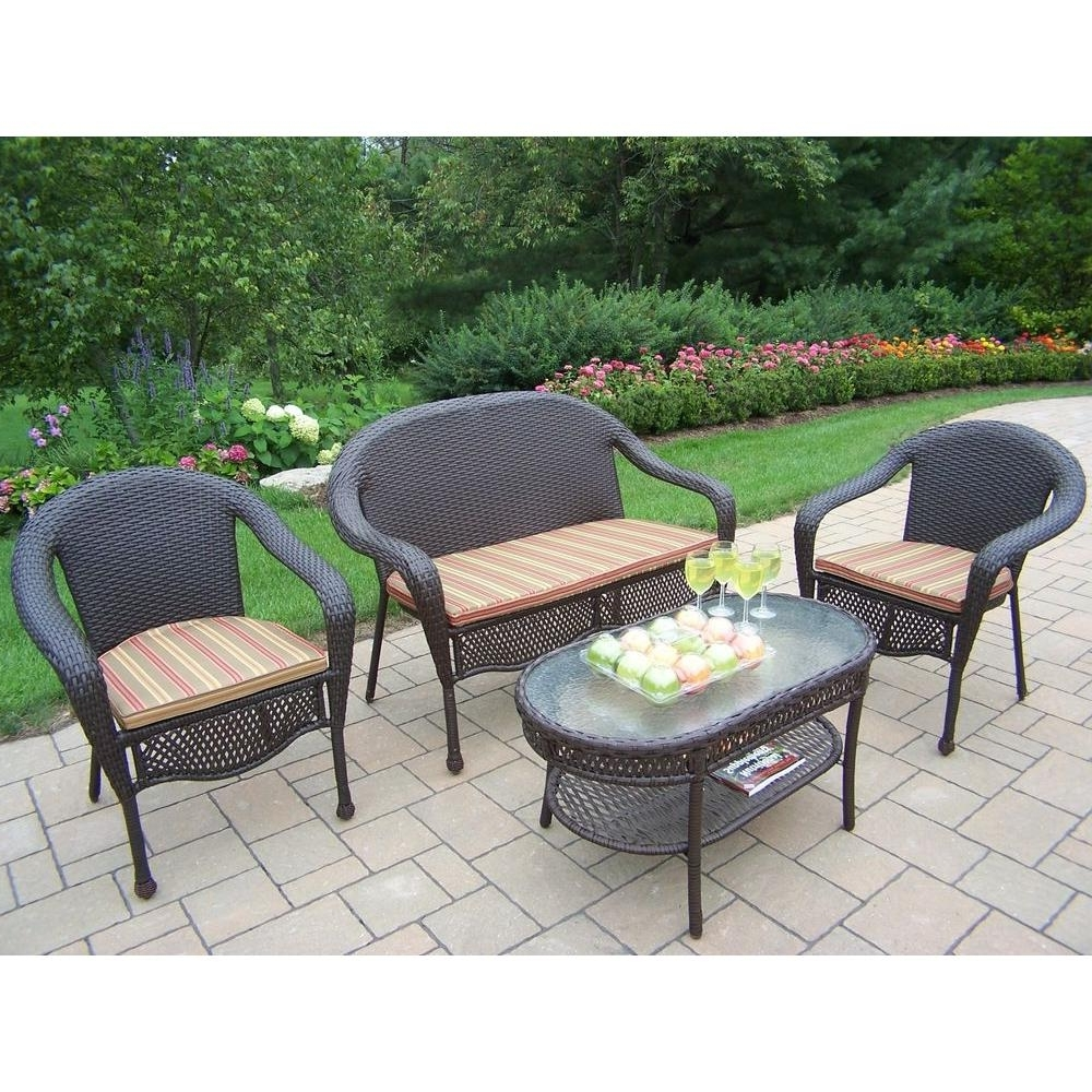 Popular Oakland Living Elite Resin Wicker 4 Piece Patio Seating Set With Striped  Cushions Regarding Resin Wicker Patio Conversation Sets (View 12 of 15)
