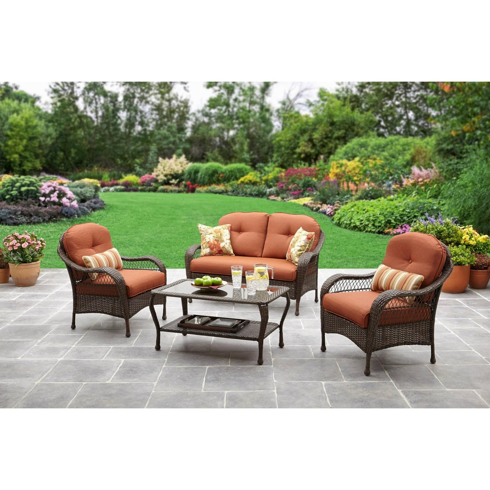 Popular Patio Conversation Sets At Walmart Pertaining To Replacement Cushions For Outdoor Furniture Walmart – Best Spray (View 13 of 15)