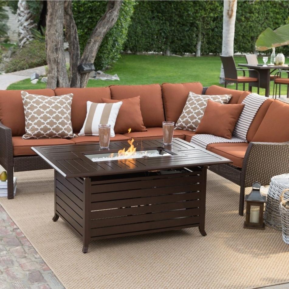 Popular Patio Conversation Sets With Propane Fire Pit With Decor: Conversation Sets : Propane Fire Patio Set Wicker Patio Set (View 11 of 15)
