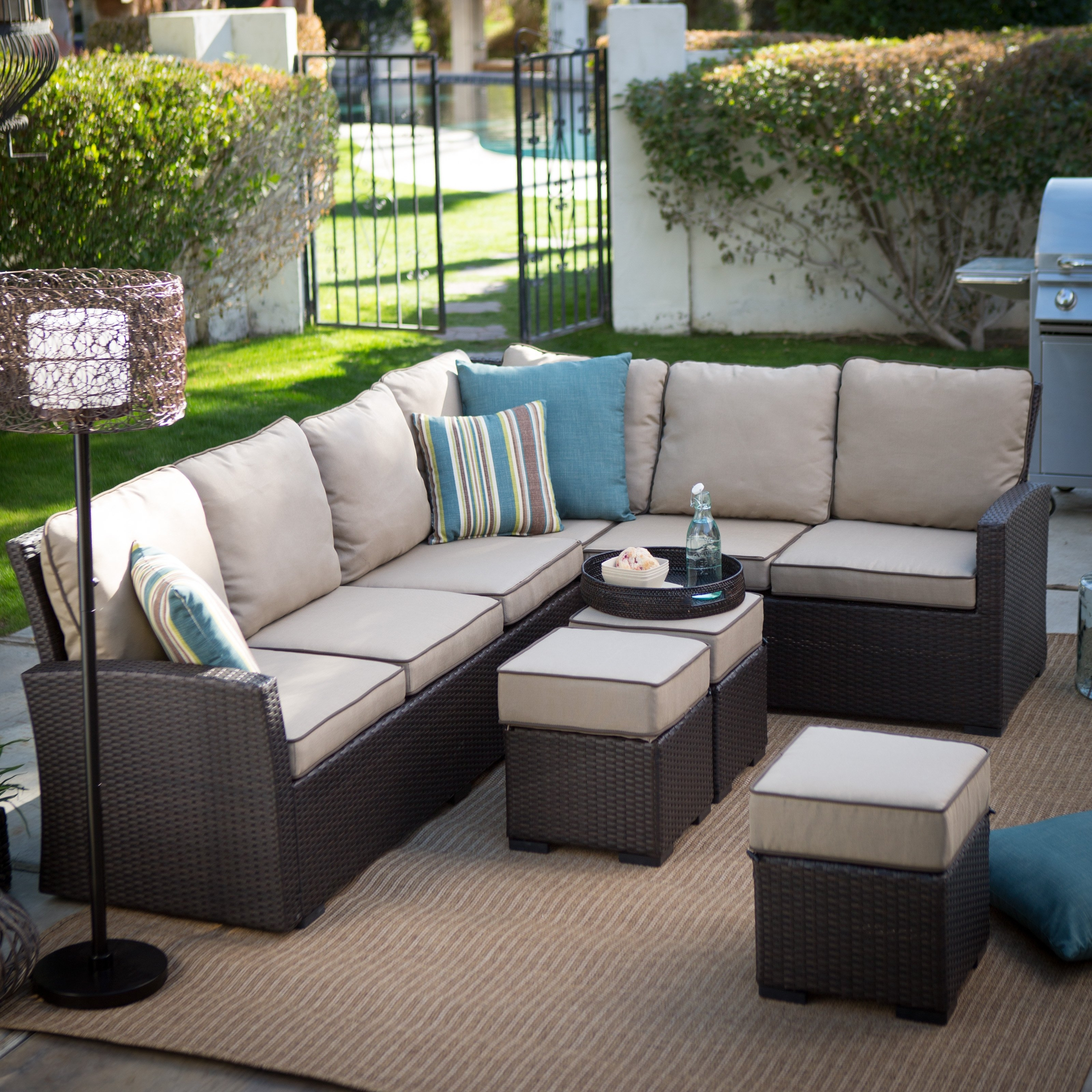 Popular Patio Sectional Conversation Sets With Regard To Belham Living Monticello All Weather Outdoor Wicker Sofa Sectional (View 12 of 15)