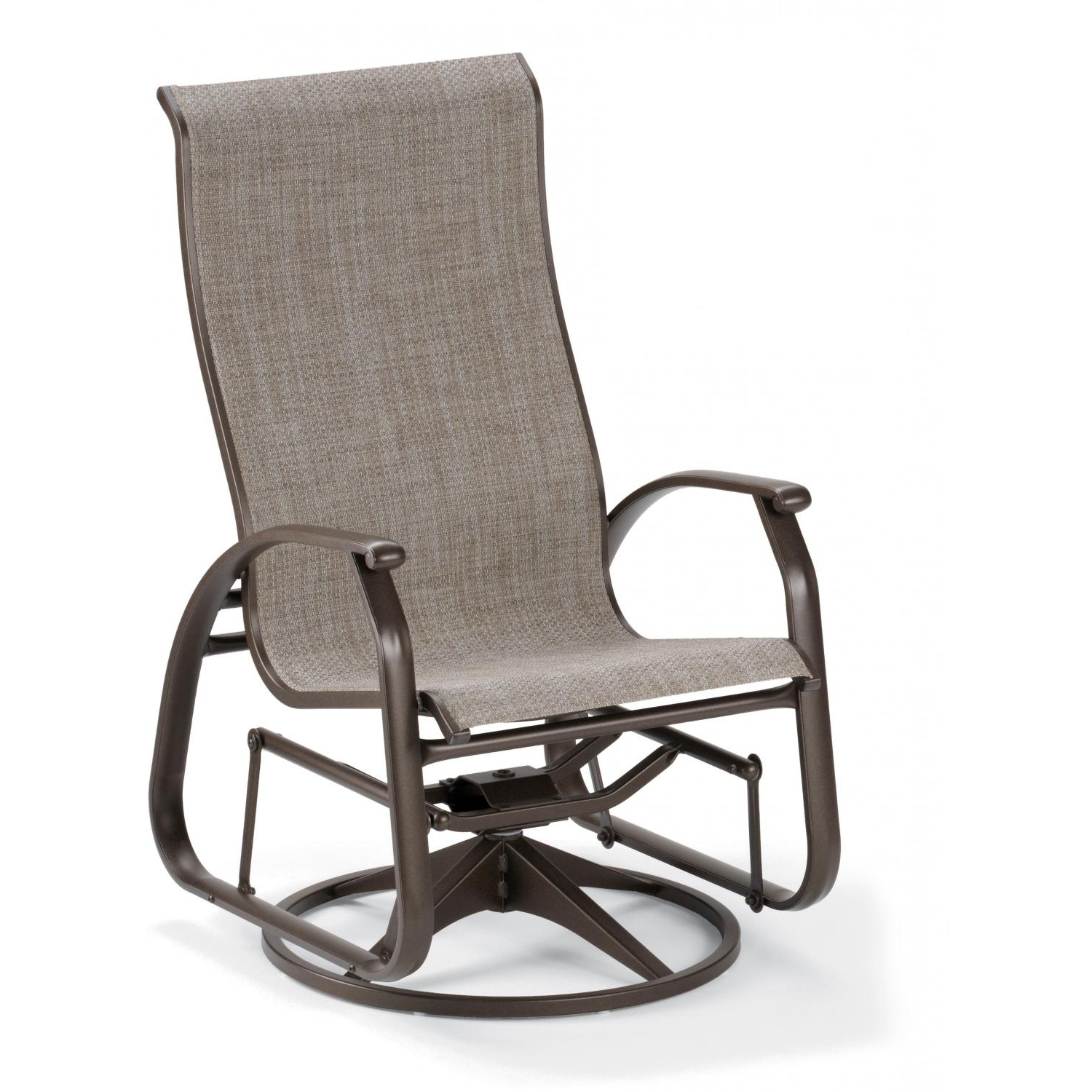 Popular Patio Sling Rocking Chairs In Telescope Casual Cape May Sling Patio Supreme Swivel Glider Dining (View 5 of 15)