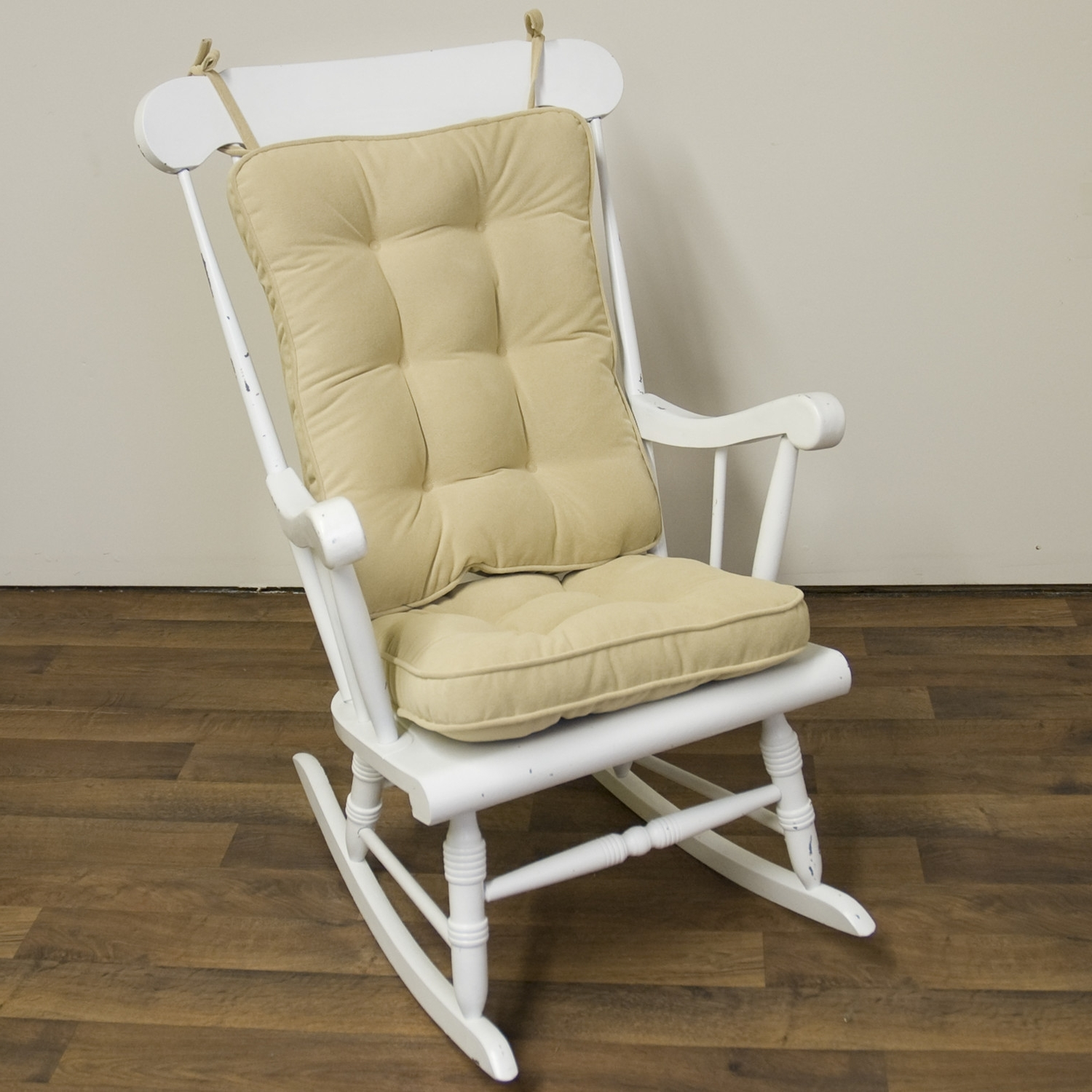 Popular Piece Rocking Chair Cushion Set Cream Color Seat Back Nylon Regarding Rocking Chairs With Lumbar Support (View 8 of 15)