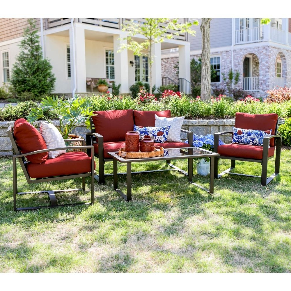 Popular Red Patio Conversation Sets Intended For Leisure Made Jasper 4 Piece Aluminum Patio Conversation Set With Red (View 7 of 15)