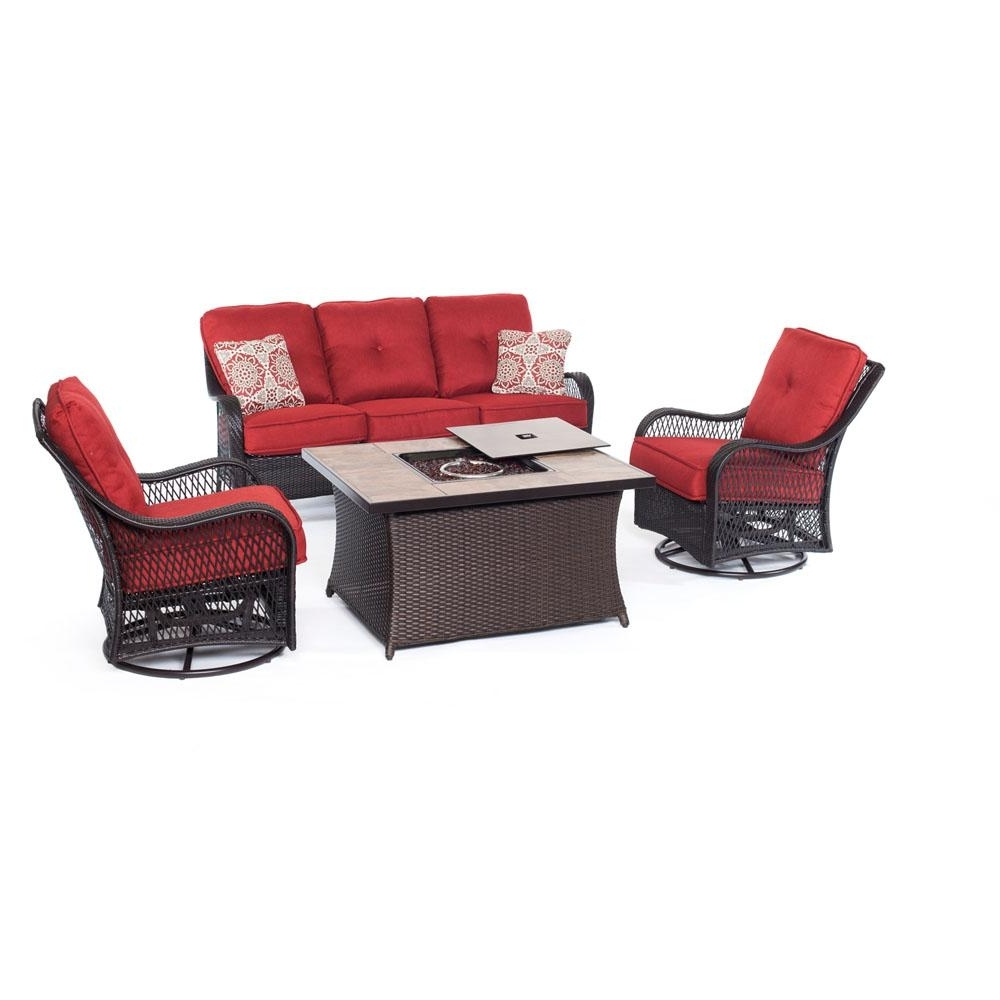 Popular Red Patio Conversation Sets Within Hanover Fire Pit Sets Outdoor Lounge Furniture The Home Depot Red (View 8 of 15)