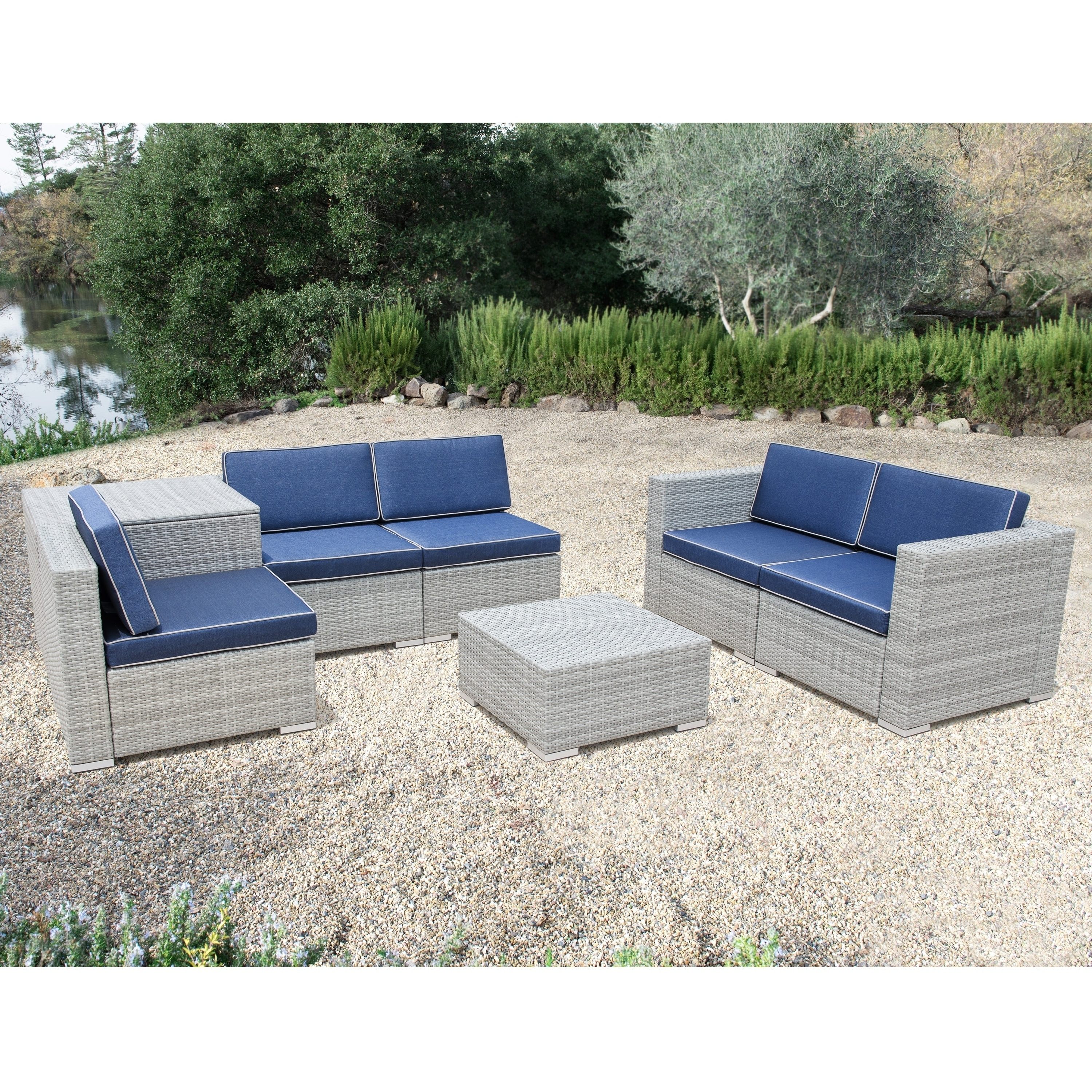 Popular Shop Corvus Bologna 7 Piece Grey Wicker Patio Furniture Set With Intended For Patio Conversation Sets With Storage (View 8 of 15)