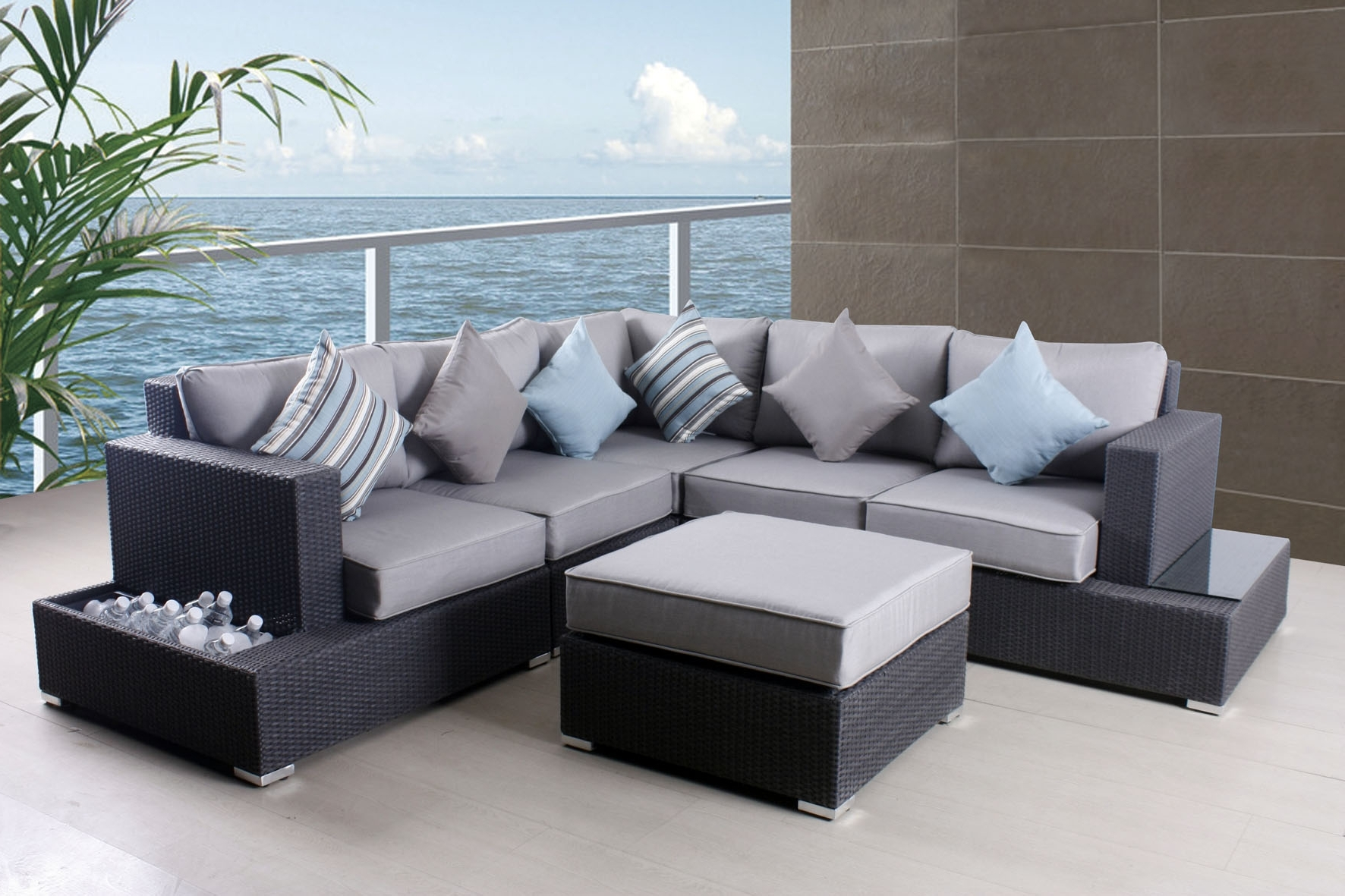 Popular Stylish Grey Patio Furniture Patio Grey Patio Furniture Sofa Set Pertaining To Grey Patio Conversation Sets (View 14 of 15)