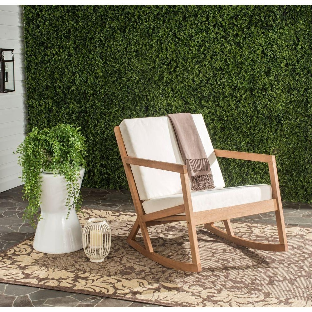 Popular Teak Patio Rocking Chairs Intended For Safavieh Vernon Teak Brown Outdoor Patio Rocking Chair With Beige (View 4 of 15)