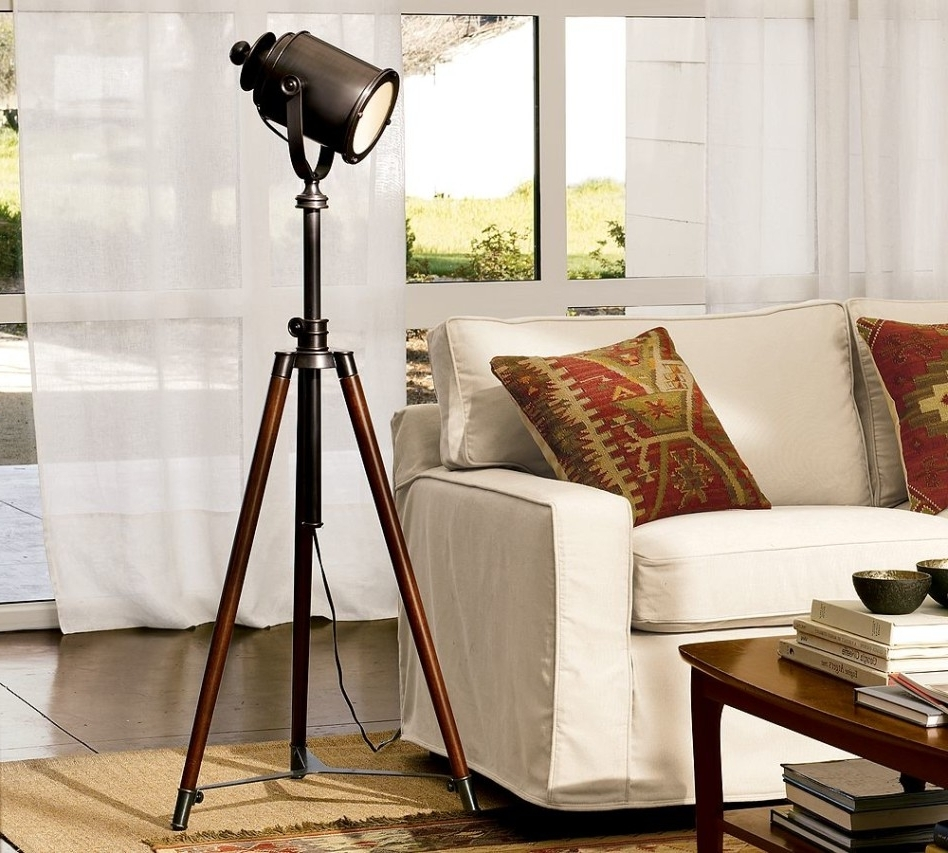 Pottery Barn Table Lamps For Living Room Inside Most Up To Date Accessories: Fetching Living Room Decoration Using Decorative Tripod (View 10 of 15)