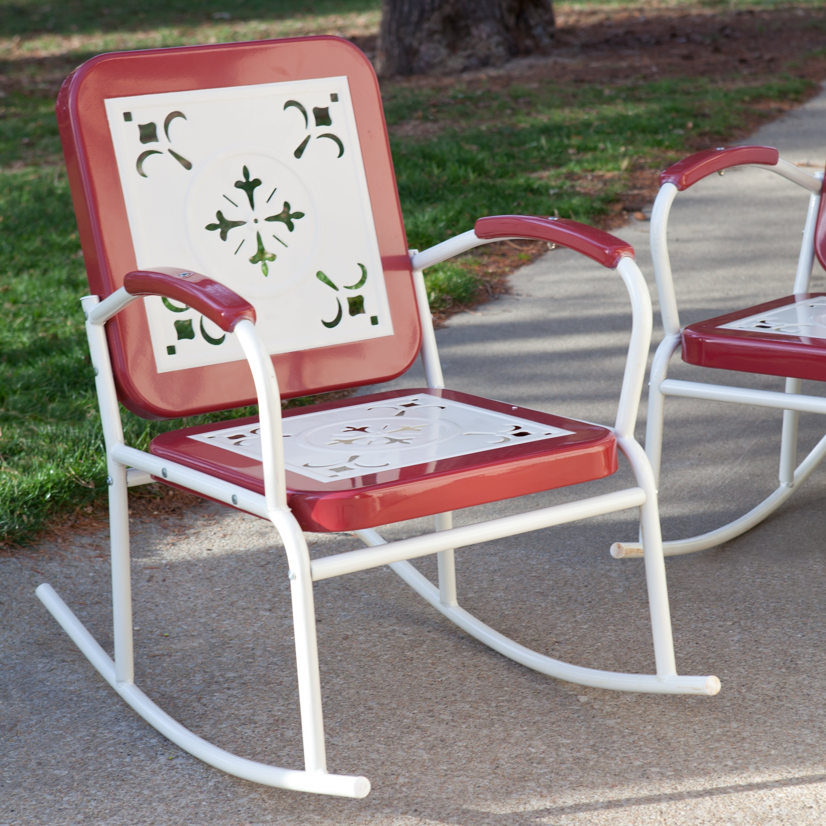 Preferred Coral Coast Paradise Cove Retro Metal Rocking Chairs – Set Of 2 Intended For Retro Rocking Chairs (View 5 of 15)
