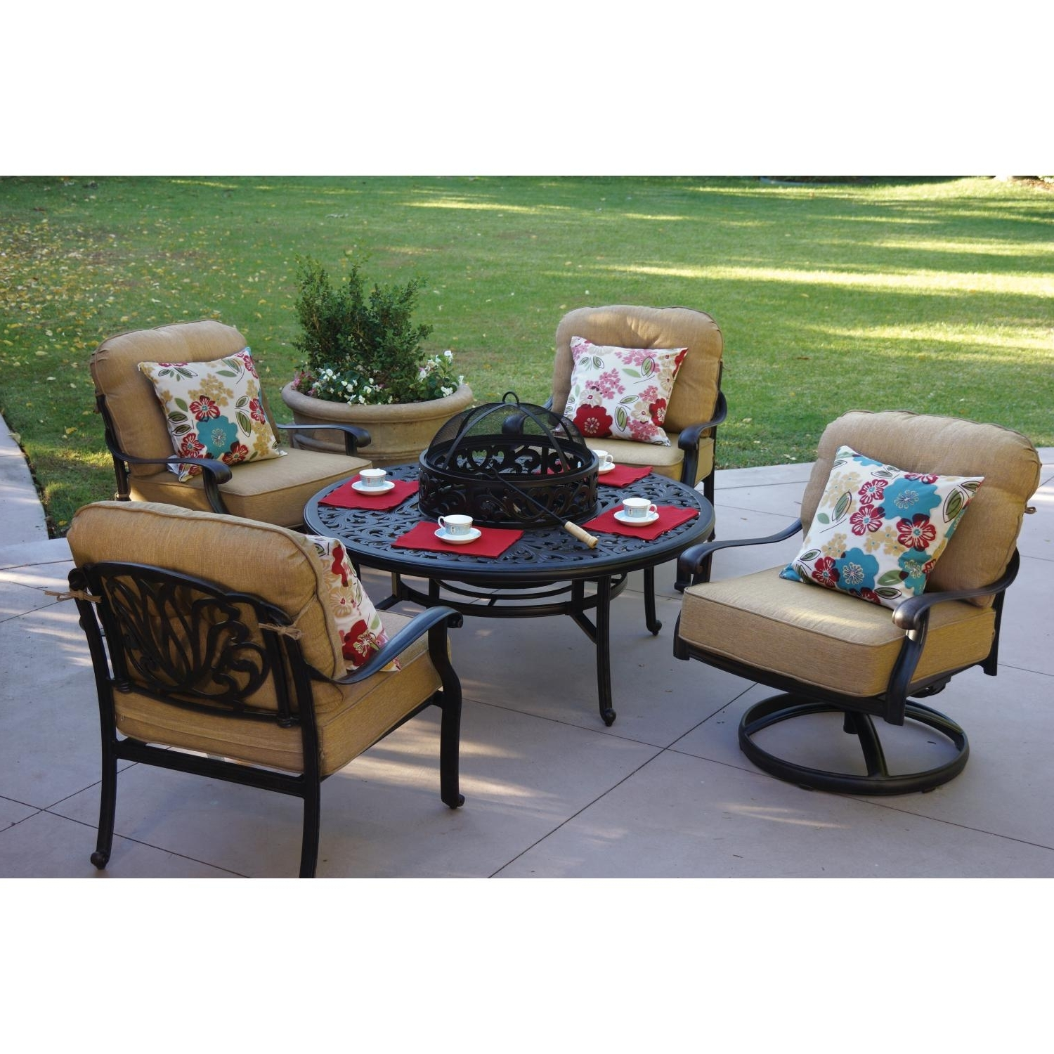 Preferred Darlee Elisabeth 5 Piece Patio Fire Pit Conversation Seating Set Intended For 5 Piece Patio Conversation Sets (View 9 of 15)