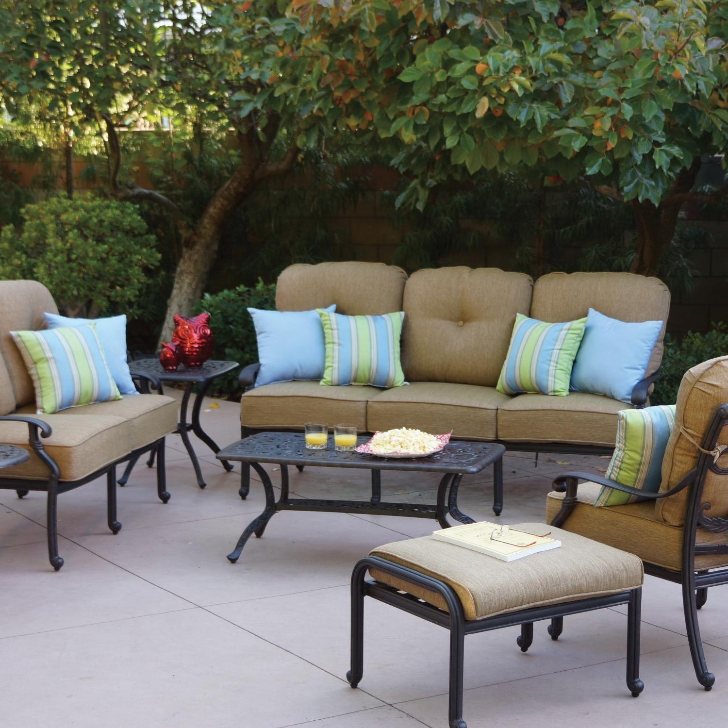 Preferred Darlee Santa Monica 7 Piece Aluminum Patio Conversation Seating Set With Aluminum Patio Conversation Sets (View 13 of 15)