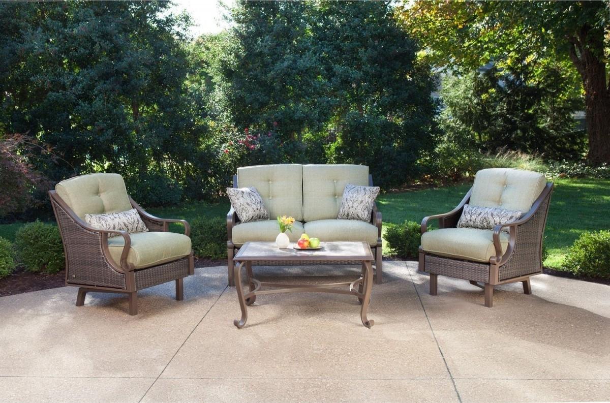 Preferred Hanover Ventura 4 Piece Wicker Outdoor Conversation Set With Regard To Amazon Patio Furniture Conversation Sets (View 6 of 15)