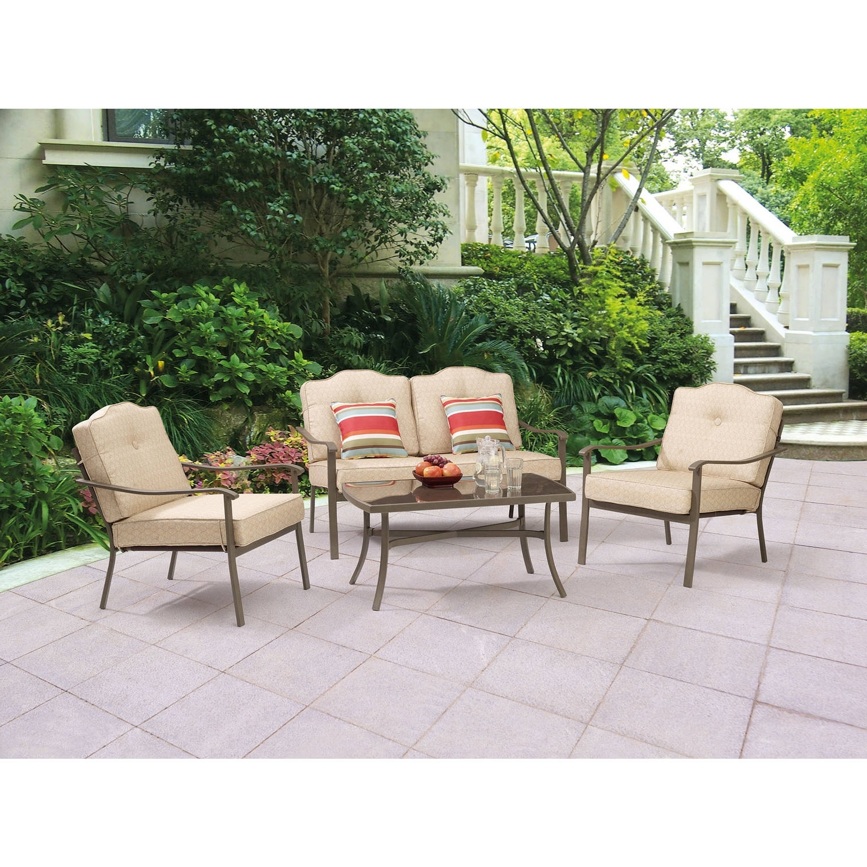 Preferred Mainstays Woodland Hills 4 Piece Chat Set – Walmart Throughout Walmart Patio Furniture Conversation Sets (View 12 of 15)