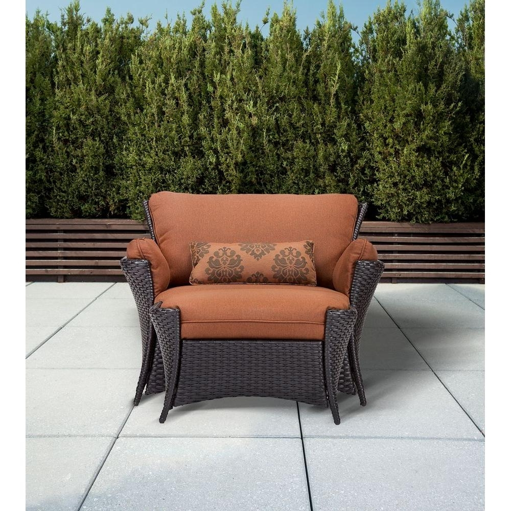 Preferred Patio Conversation Sets With Ottoman With Hanover Strathmere Allure 2 Piece Patio Set With Oversized Armchair (View 9 of 15)