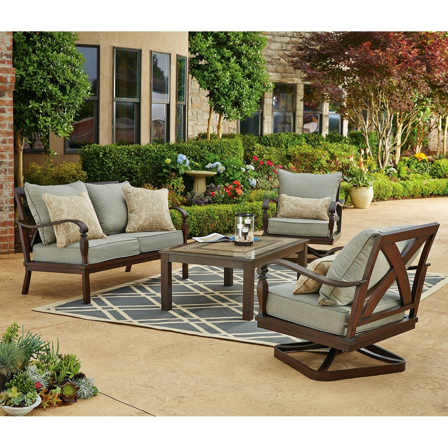 Preferred Patio Conversation Sets Without Cushions Pertaining To Furniture: Cozy Wrought Iron Patio Chairs With Cushions And Gray (View 11 of 15)