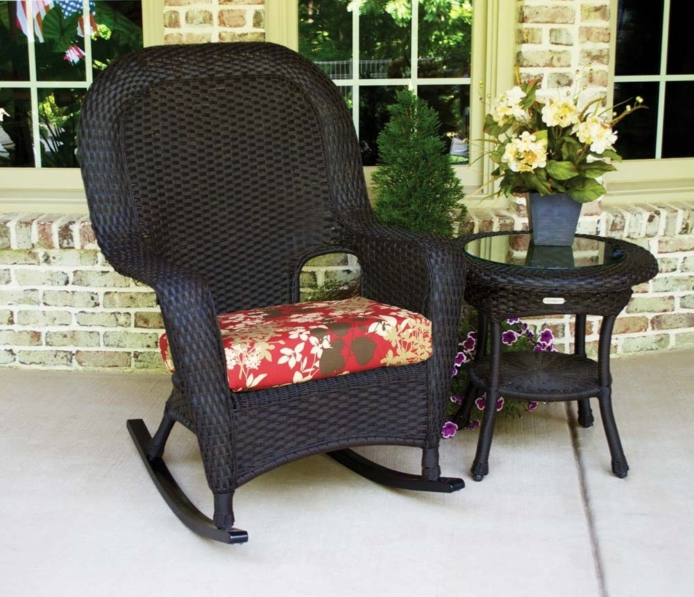Preferred Patio Rocking Chairs Sets Pertaining To Tortuga Outdoor Lexington Wicker 2 Piece Rocker And Side Table Set (View 8 of 15)
