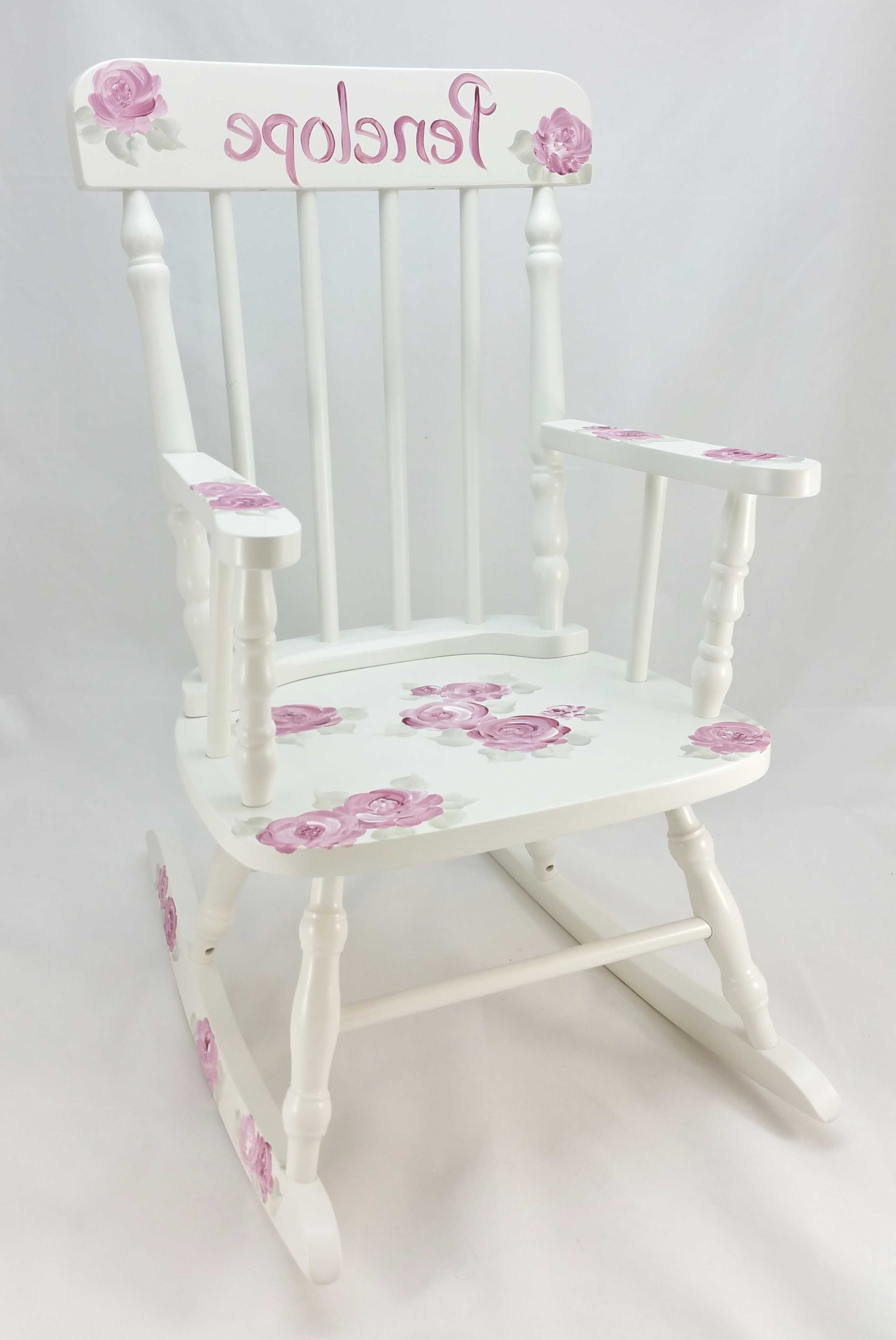 Preferred Rocking Chairs At Roses Throughout Deep Pink Roses Personalized Rocking Chair – Purple Pumpkin Gifts (View 8 of 15)