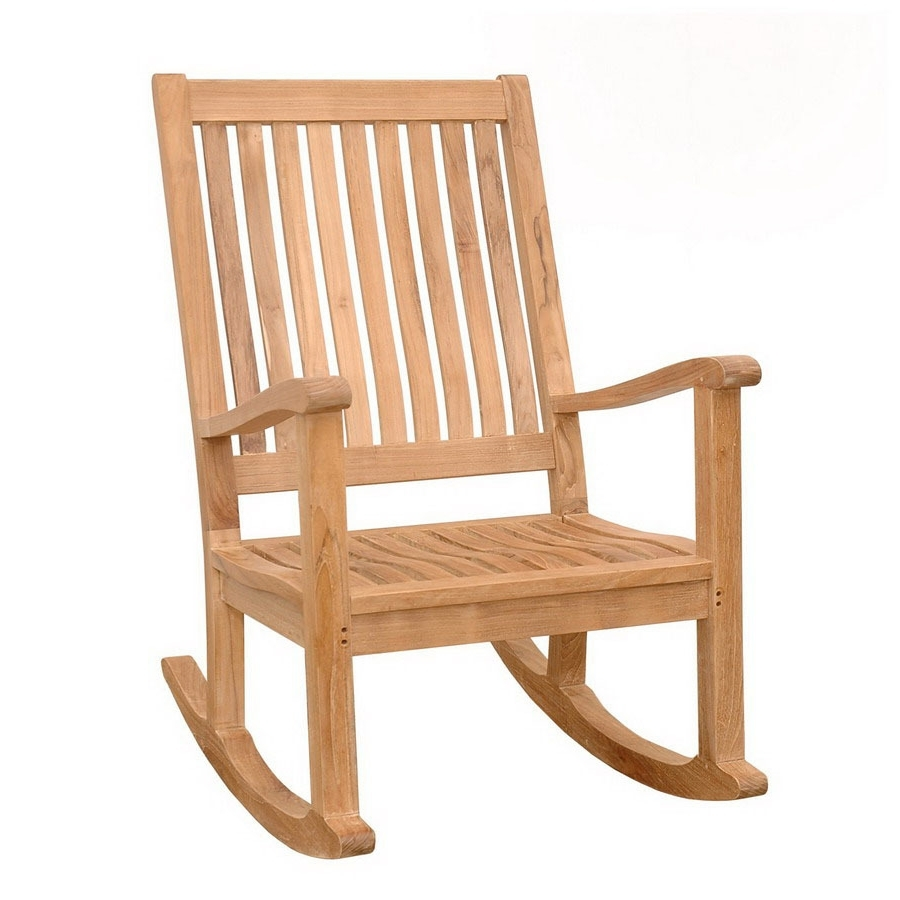 Preferred Shop Anderson Teak Del Amo Teak Rocking Chair With Slat Seat At Regarding Teak Patio Rocking Chairs (View 2 of 15)