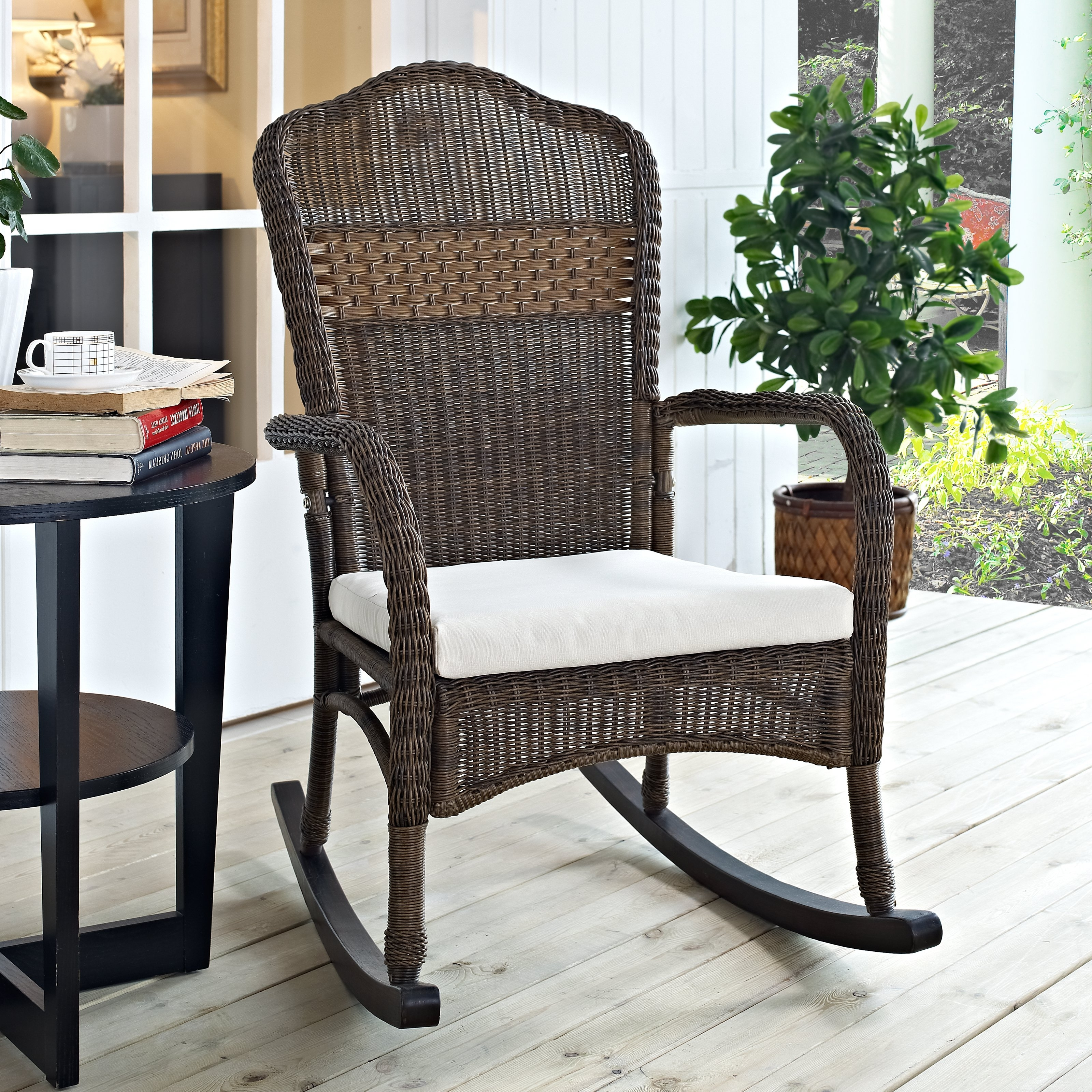 Preferred Unique Outdoor Rocking Chairs Pertaining To Coral Coast Mocha Resin Wicker Rocking Chair With Beige Cushion (View 3 of 15)