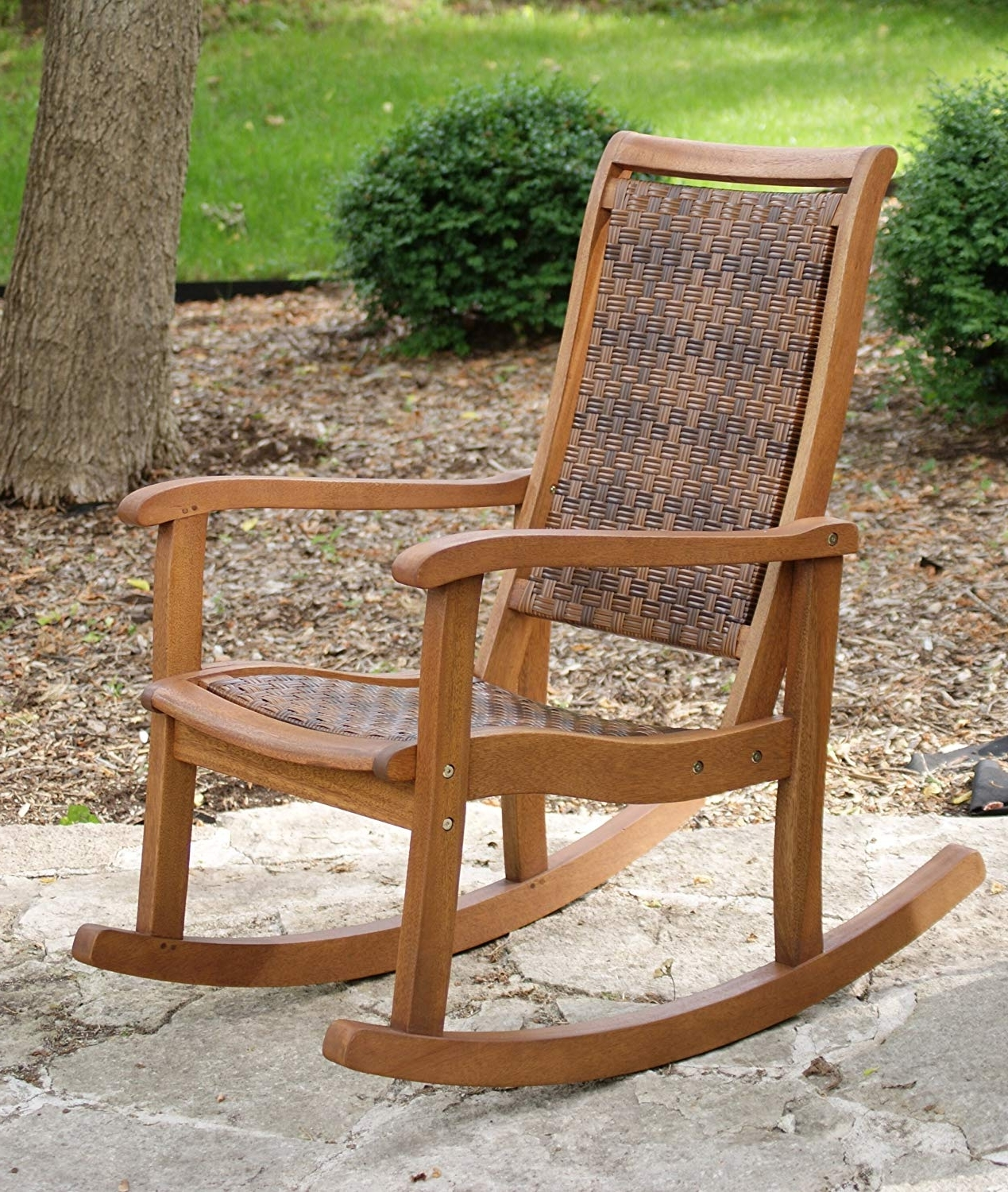 Rattan Outdoor Rocking Chairs Pertaining To Best And Newest Amazon : Outdoor Interiors 21095Rc All Weather Wicker Mocha And (View 7 of 15)