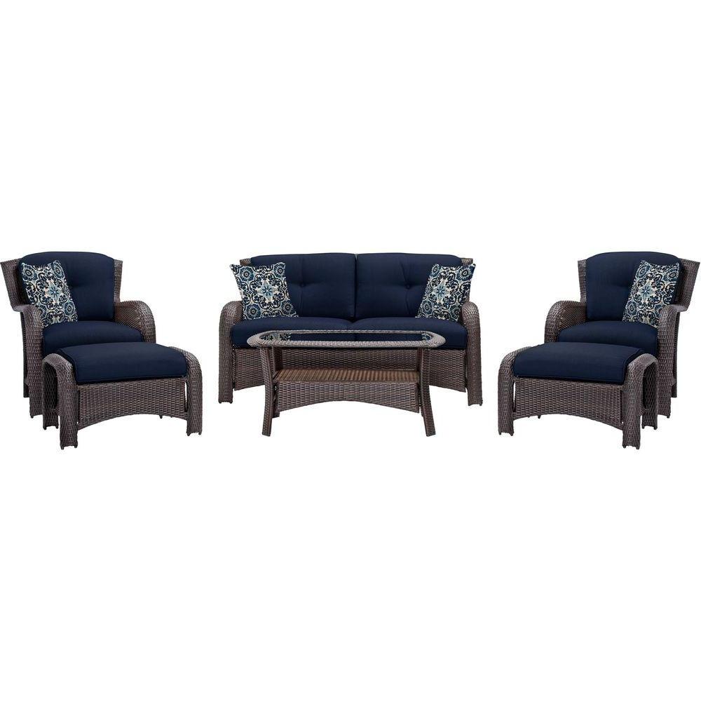 Recent Blue Patio Conversation Sets Regarding Hanover – Loveseat – Blue – Patio Conversation Sets – Outdoor Lounge (View 8 of 15)