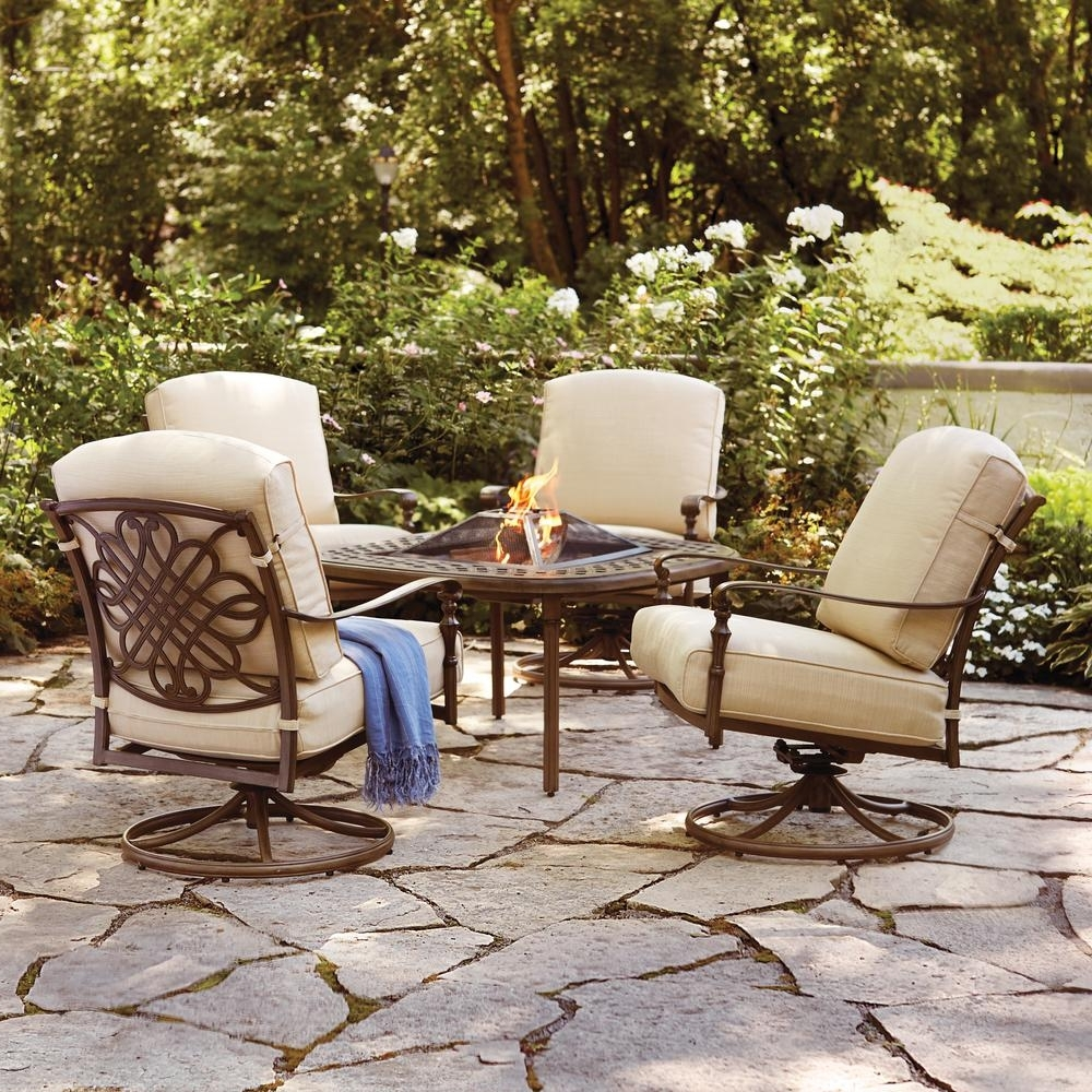 Recent Hampton Bay Cavasso 5 Piece Aluminum Outdoor Patio Fire Pit Pertaining To Patio Conversation Sets With Fire Table (View 10 of 15)