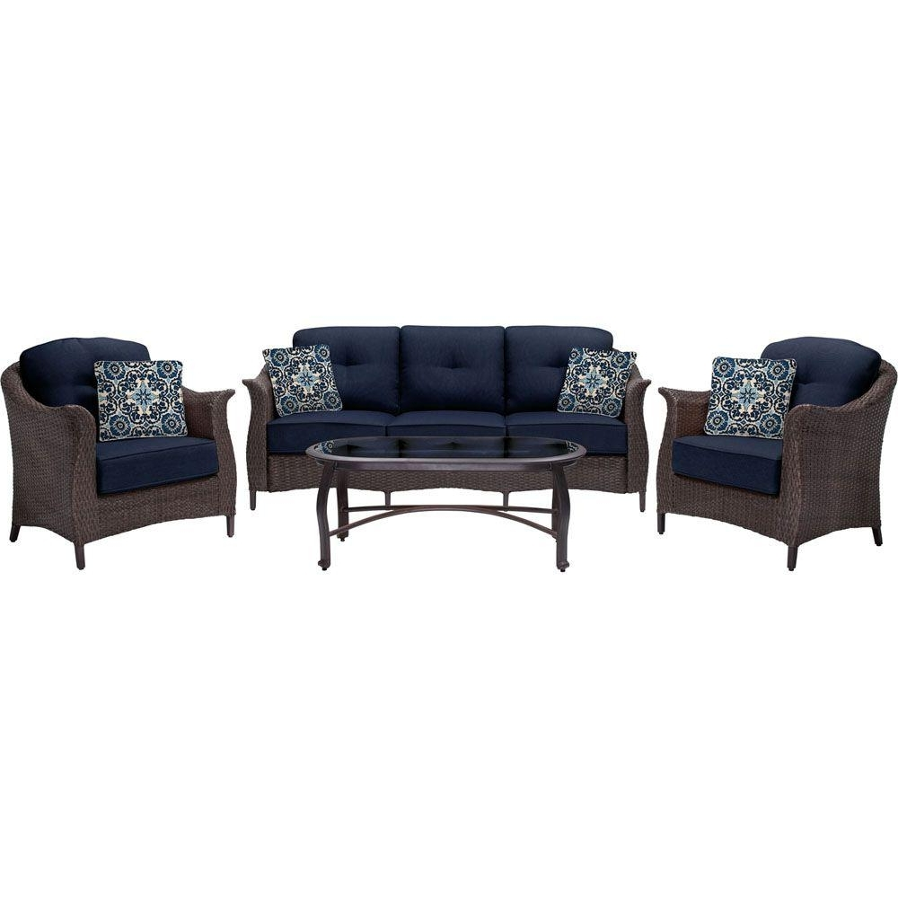 Featured Photo of Wicker 4Pc Patio Conversation Sets With Navy Cushions