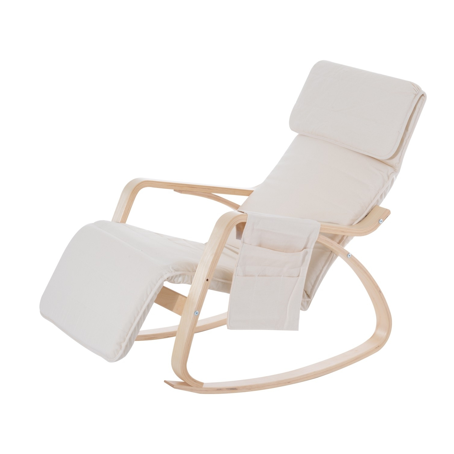 Recent Homcom Rocking Chair W/adjustable Footrest & Side Pocket Beige Pertaining To Rocking Chairs With Footrest (View 9 of 15)