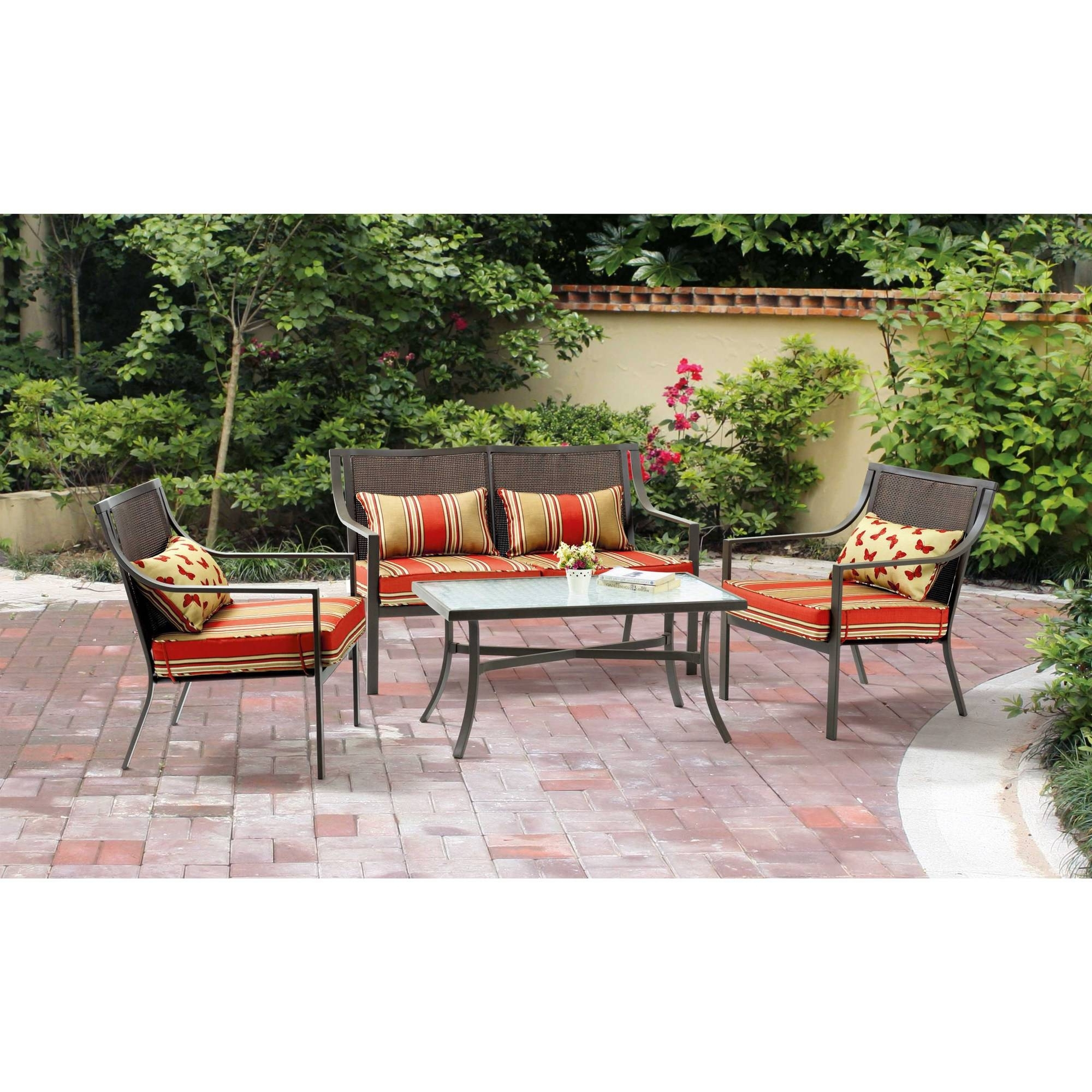Recent Iron Patio Conversation Sets Within Mainstays Alexandra Square 4 Piece Patio Conversation Set, Seats (View 15 of 15)