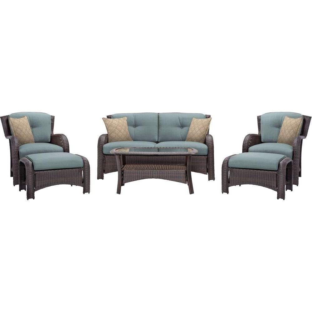 Recent Patio Conversation Sets With Blue Cushions Throughout Hanover Strathmere 6 Piece All Weather Wicker Patio Deep Seating Set (View 13 of 15)
