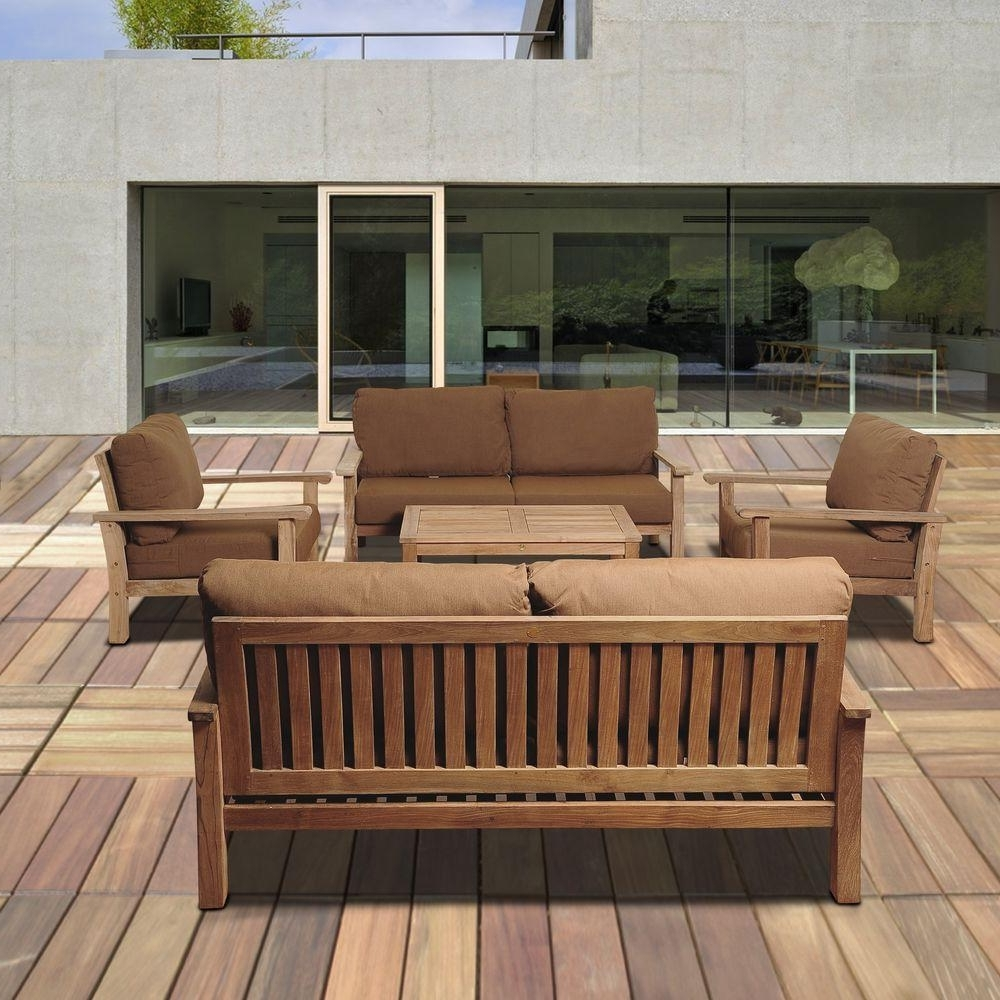 Recent Patio Conversation Sets With Sunbrella Cushions Throughout Amazonia Todds 5 Piece Teak Patio Seating Set With Sunbrella (View 13 of 15)