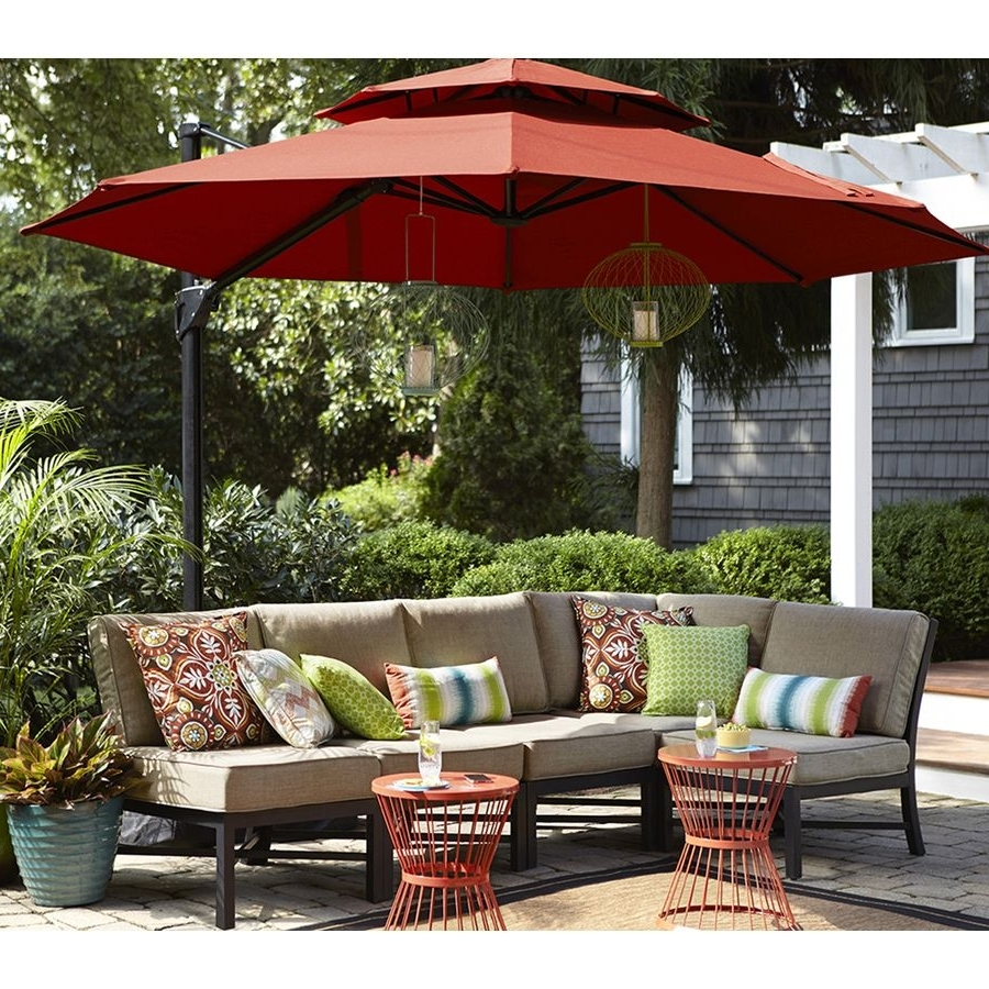 Recent Patio Conversation Sets With Umbrella Regarding Shop Garden Treasures Palm City 5 Piece Steel Patio Conversation Set (View 13 of 15)