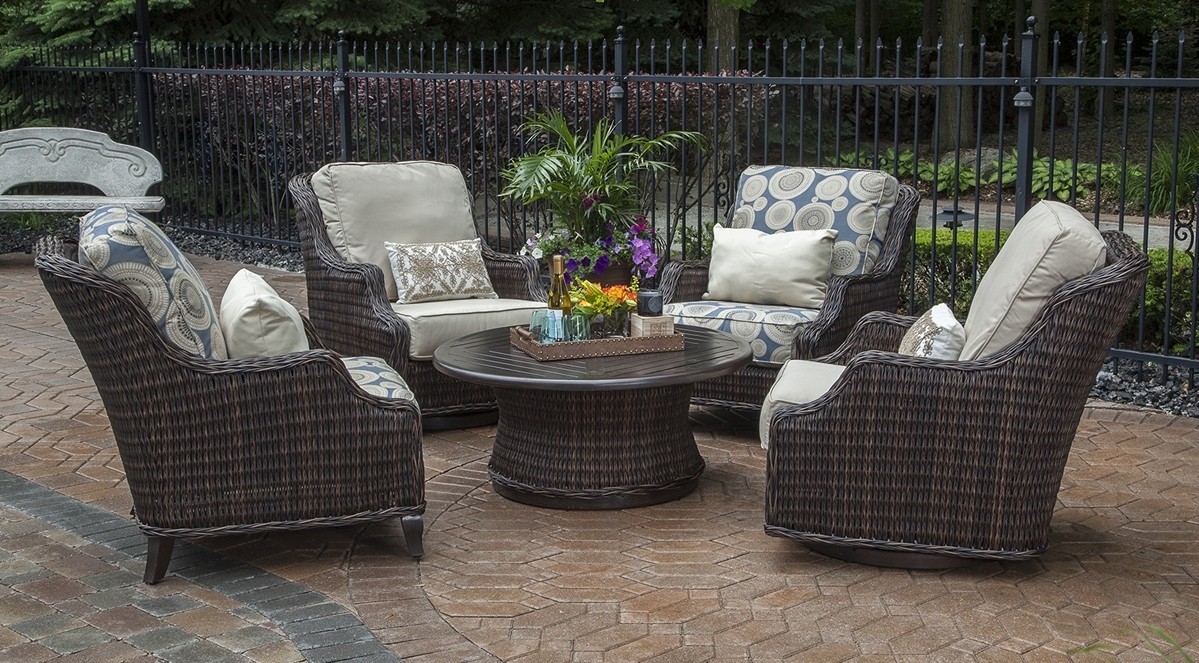 Recent Round Patio Conversation Sets Pertaining To Unique Bedroom Furniture Rattan Garden Furniture Athens Round Patio (View 10 of 15)