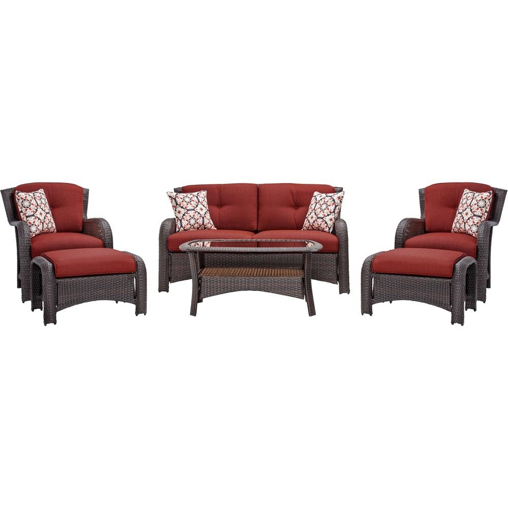 Red Patio Conversation Sets With Regard To Current Hanover Strathmere 6 Piece All Weather Wicker Patio Seating Set With (View 9 of 15)