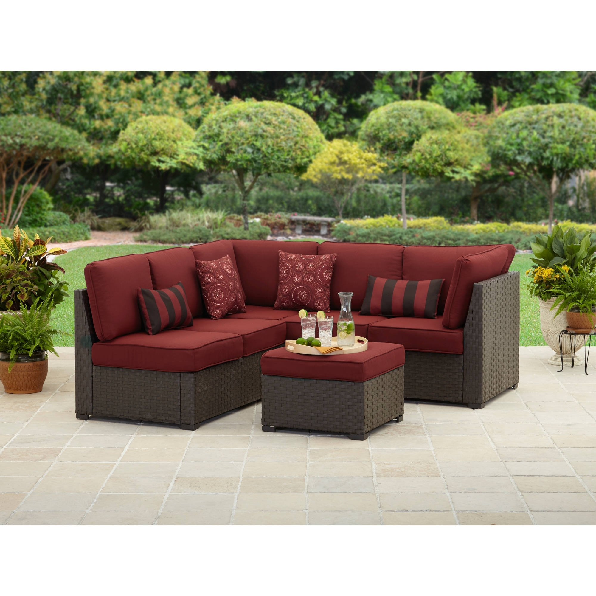 Red Patio Conversation Sets With Regard To Newest Better Homes And Gardens Rush Valley 3 Piece Outdoor Sectional (View 10 of 15)