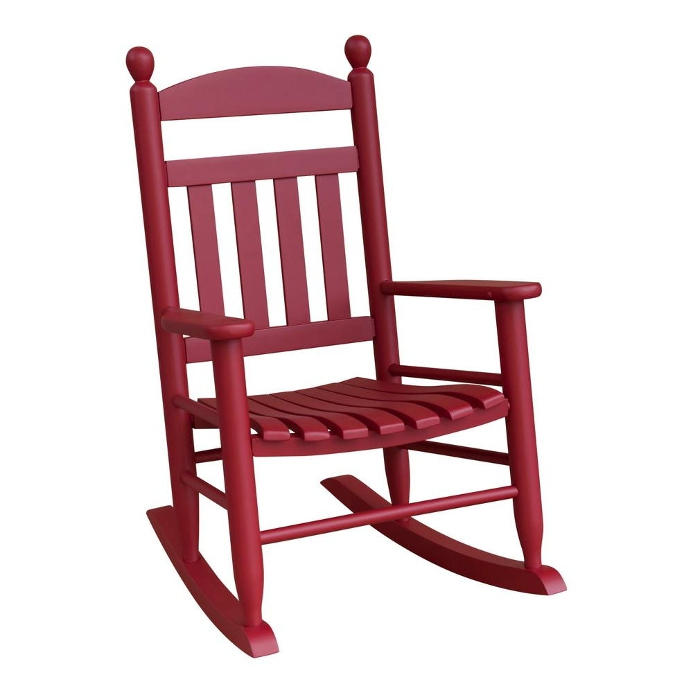 Red Patio Rocking Chairs Intended For Trendy Youth Slat Red Wood Outdoor Patio Rocking Chair 201Sef Rta – The (View 5 of 15)