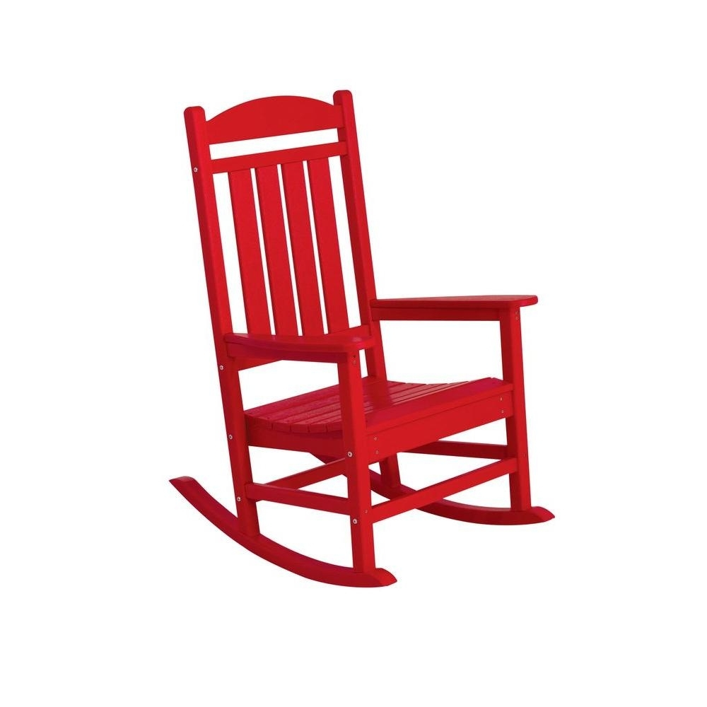 Red Patio Rocking Chairs pertaining to Most Up-to-Date Polywood Presidential Sunset Red Patio Rocker-R100Sr - The Home Depot