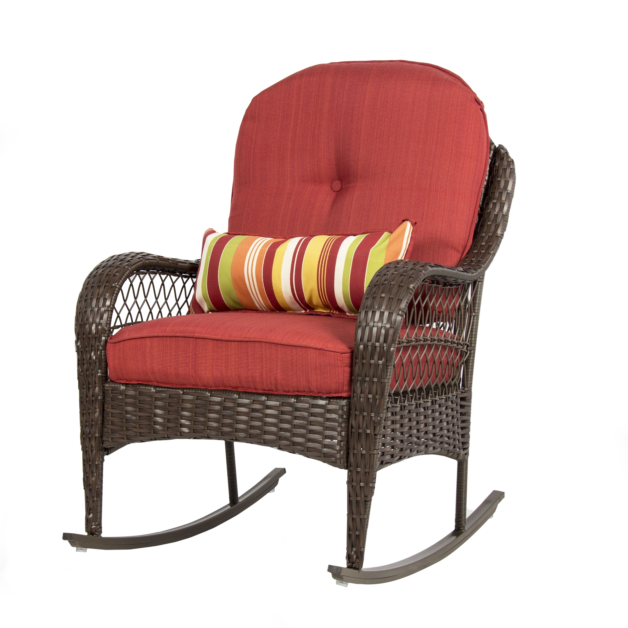Red Patio Rocking Chairs Throughout Recent Bestchoiceproducts: Best Choice Products Wicker Rocking Chair Patio (View 9 of 15)