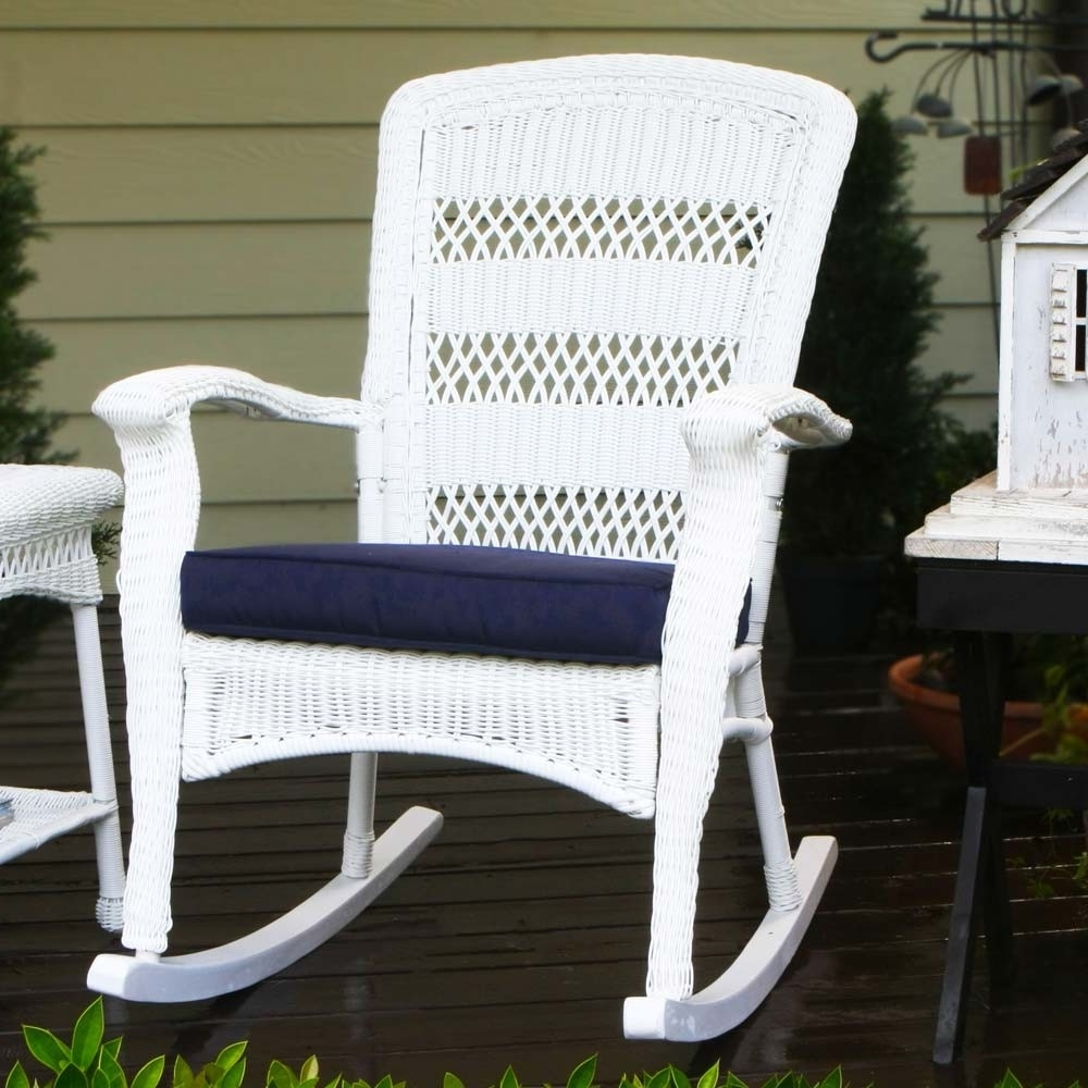 Resin Patio Rocking Chairs Intended For 2018 Outdoor White Wicker Furniture Nice (View 4 of 15)