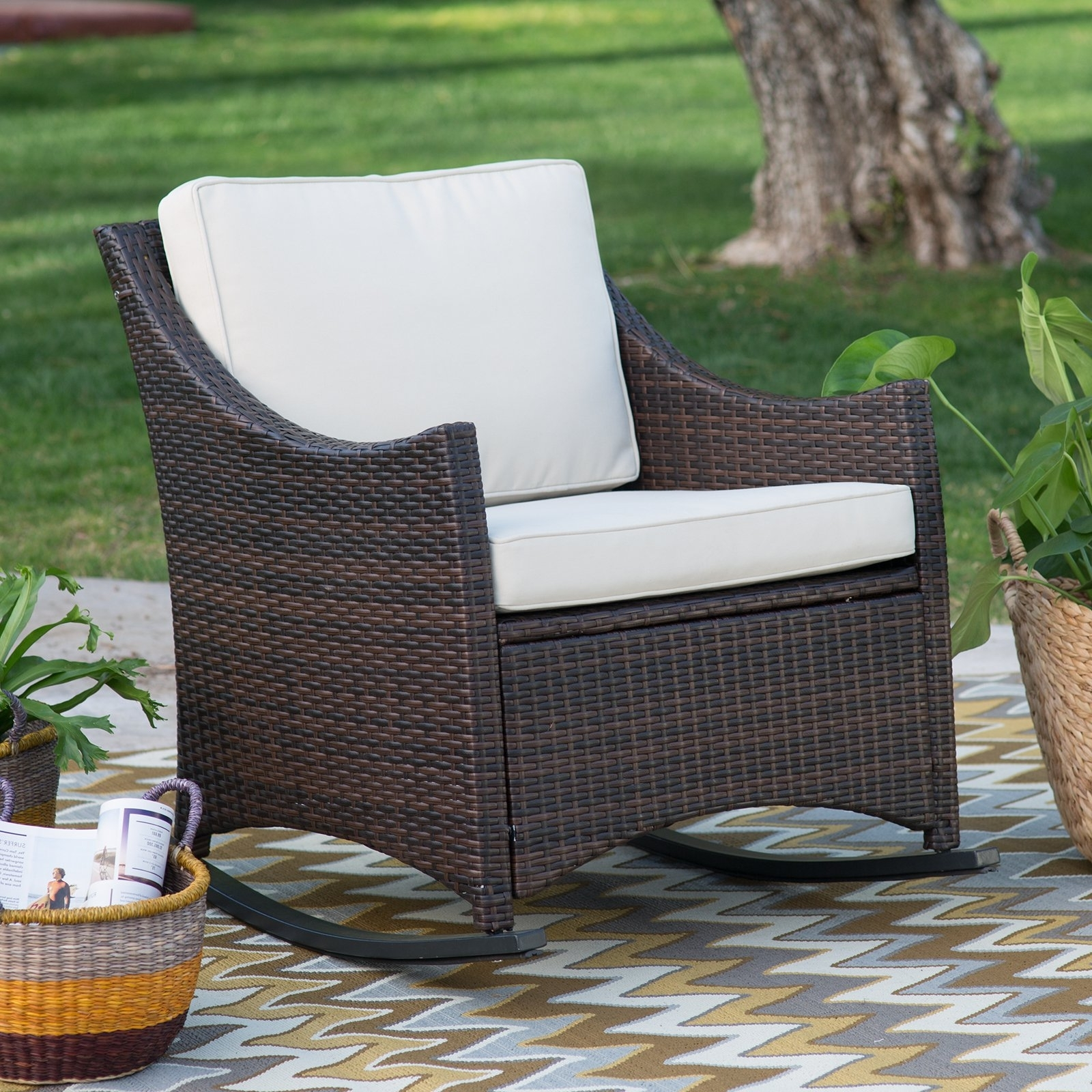 Resin Wicker Patio Rocking Chairs Intended For Widely Used Coral Coast Harrison Club Style Rocking Chair With Cushion – Walmart (View 9 of 15)