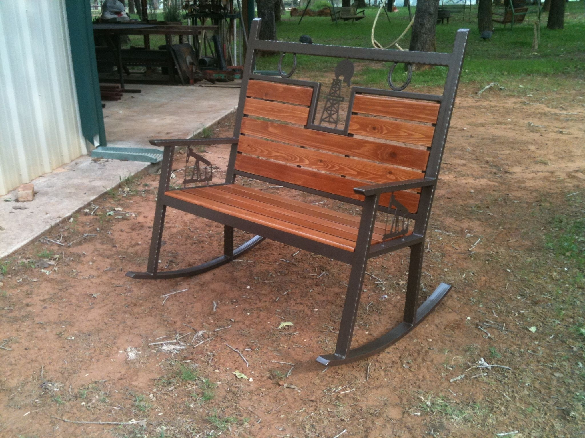 Rocking Bench Made With A Cnc Burntables #bench #chair #patio #porch Intended For 2017 Patio Furniture Rocking Benches (View 13 of 15)