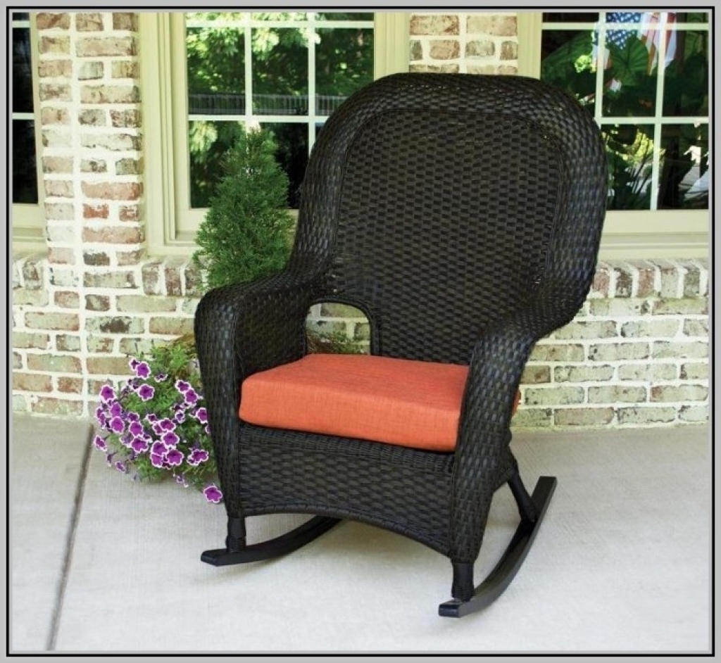 Rocking Chair Cushions For Outdoor Within Preferred The Portside Classic All Weather Wicker Rocking Chair Set Inside (View 12 of 15)