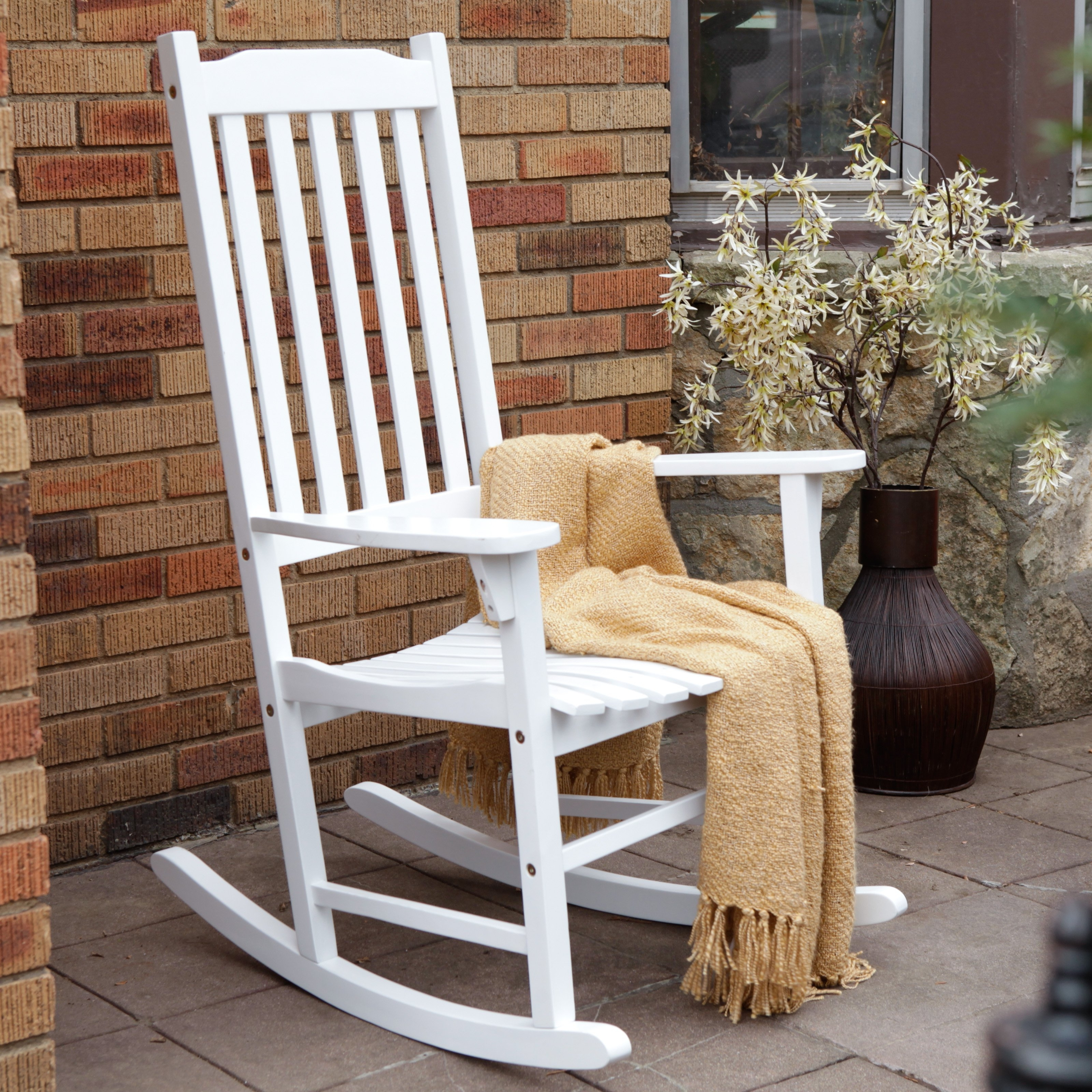 Rocking Chair Outdoor Wooden Intended For Recent Coral Coast Indoor/outdoor Mission Slat Rocking Chair – White (View 11 of 15)