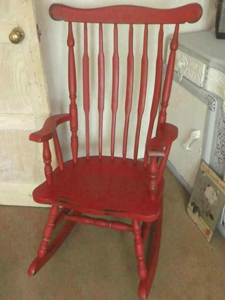 Rocking Chairs At Gumtree Within Preferred Solid Vintage Rocking Chair Painted With Laura Ashley Paint Aged (View 12 of 15)