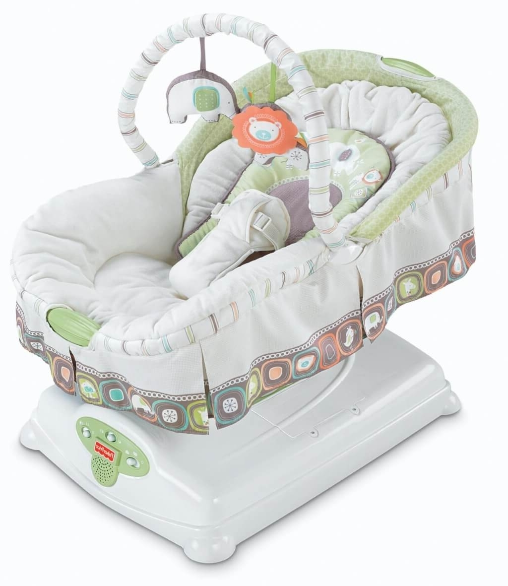 Rocking Chairs For Babies With 2018 Furniture: Luxury Baby Rocking Chair With Bouncer And White Baby (View 12 of 15)