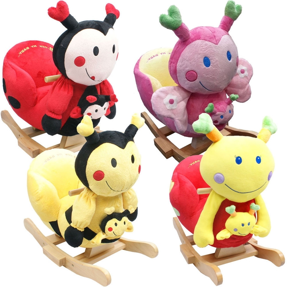 Rocking Chairs For Babies Within Current Baby Rocker Rocking Chair Toy Toddler Animal Soft Cuddly Musical (View 4 of 15)