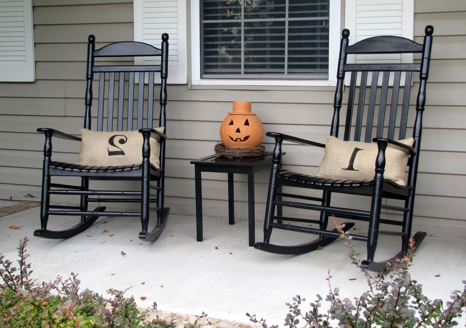 Rocking Chairs For Front Porch Throughout Most Popular All Weather Rocking Chair Into The Glass Outdoor Wood Gray Black (View 11 of 15)