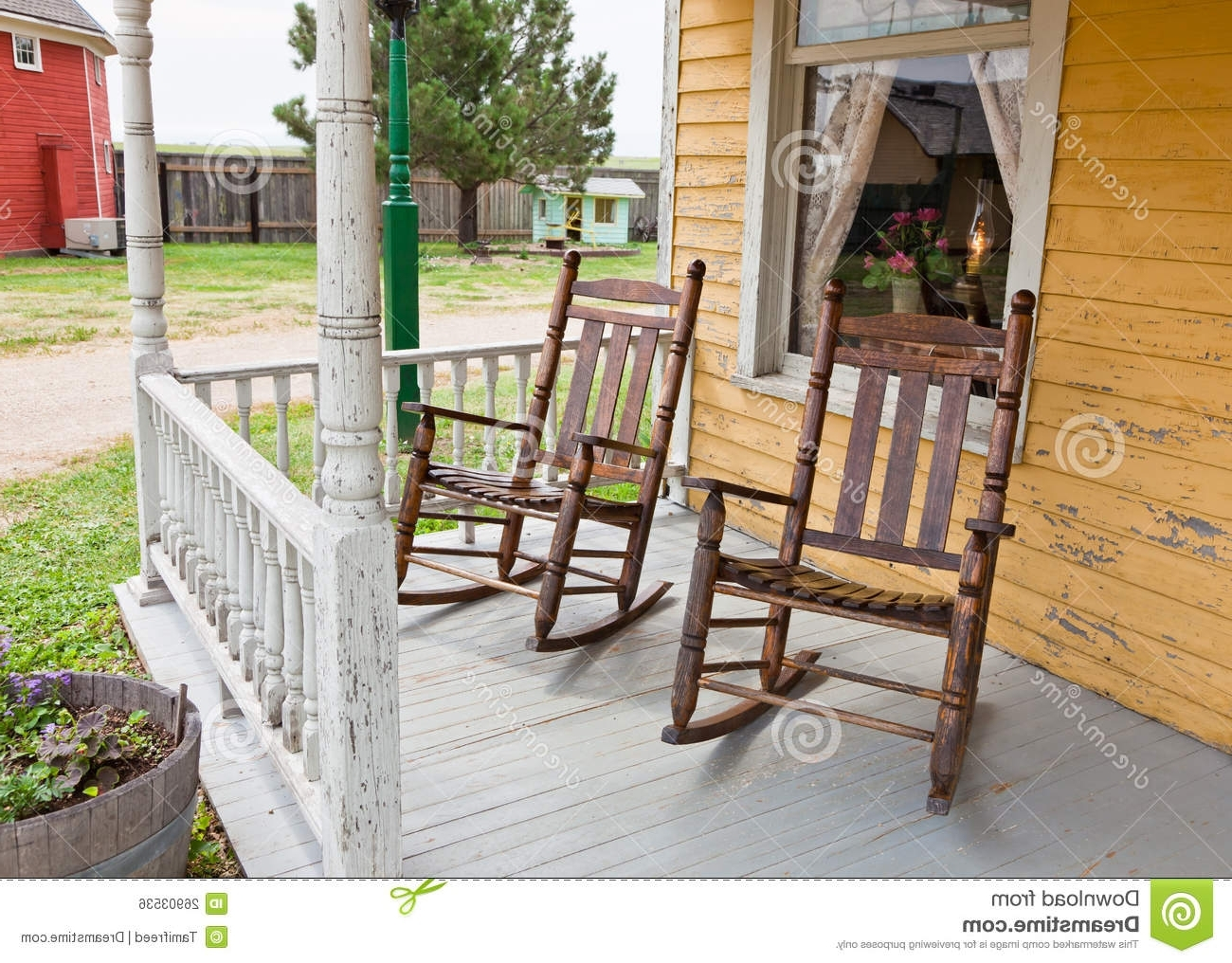 Rocking Chairs For Front Porch With Current Front Porch Rocking Chairs Stock Photo (View 9 of 15)