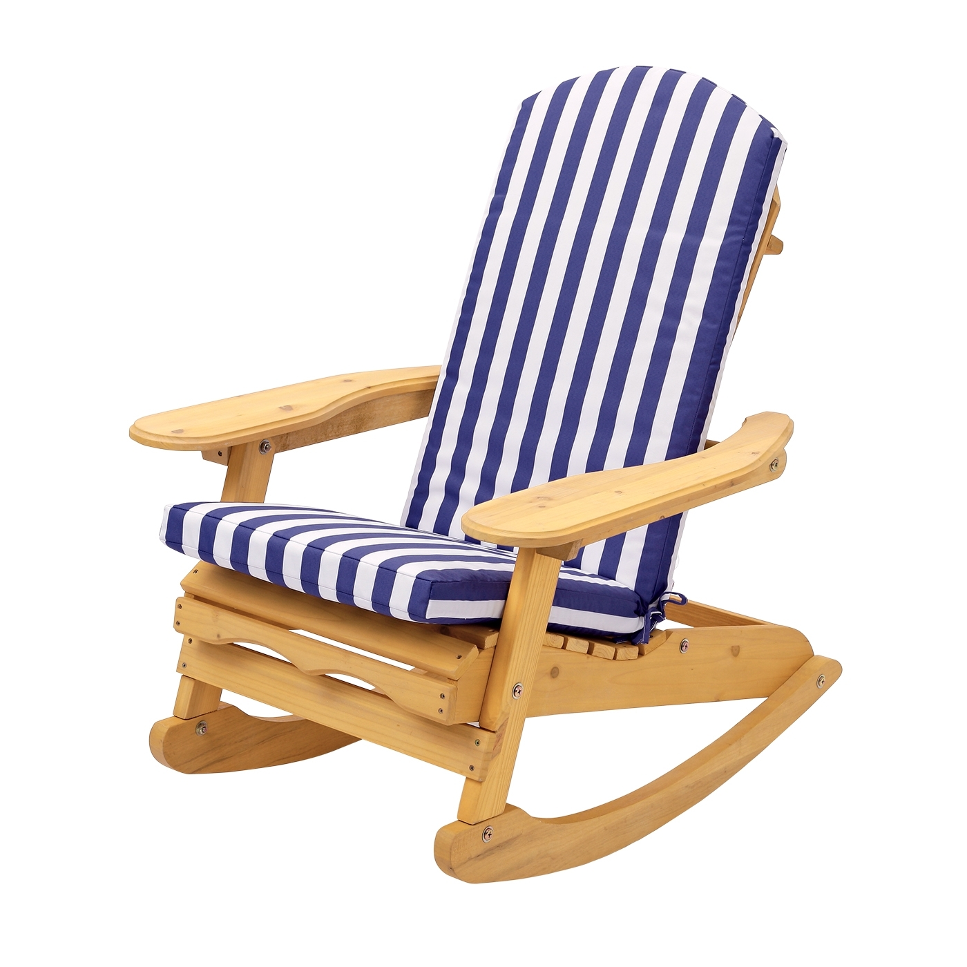 Rocking Chairs For Garden Pertaining To Most Up To Date Garden Patio Rocking Chair With Blue & White Striped Cushion (View 15 of 15)