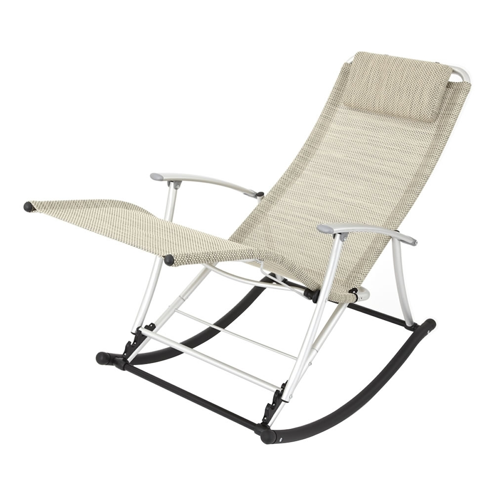 Rocking Chairs For Garden Throughout Newest Leisure Foldable Aluminium Beige Rocking Toblino Chair Lounger (View 4 of 15)
